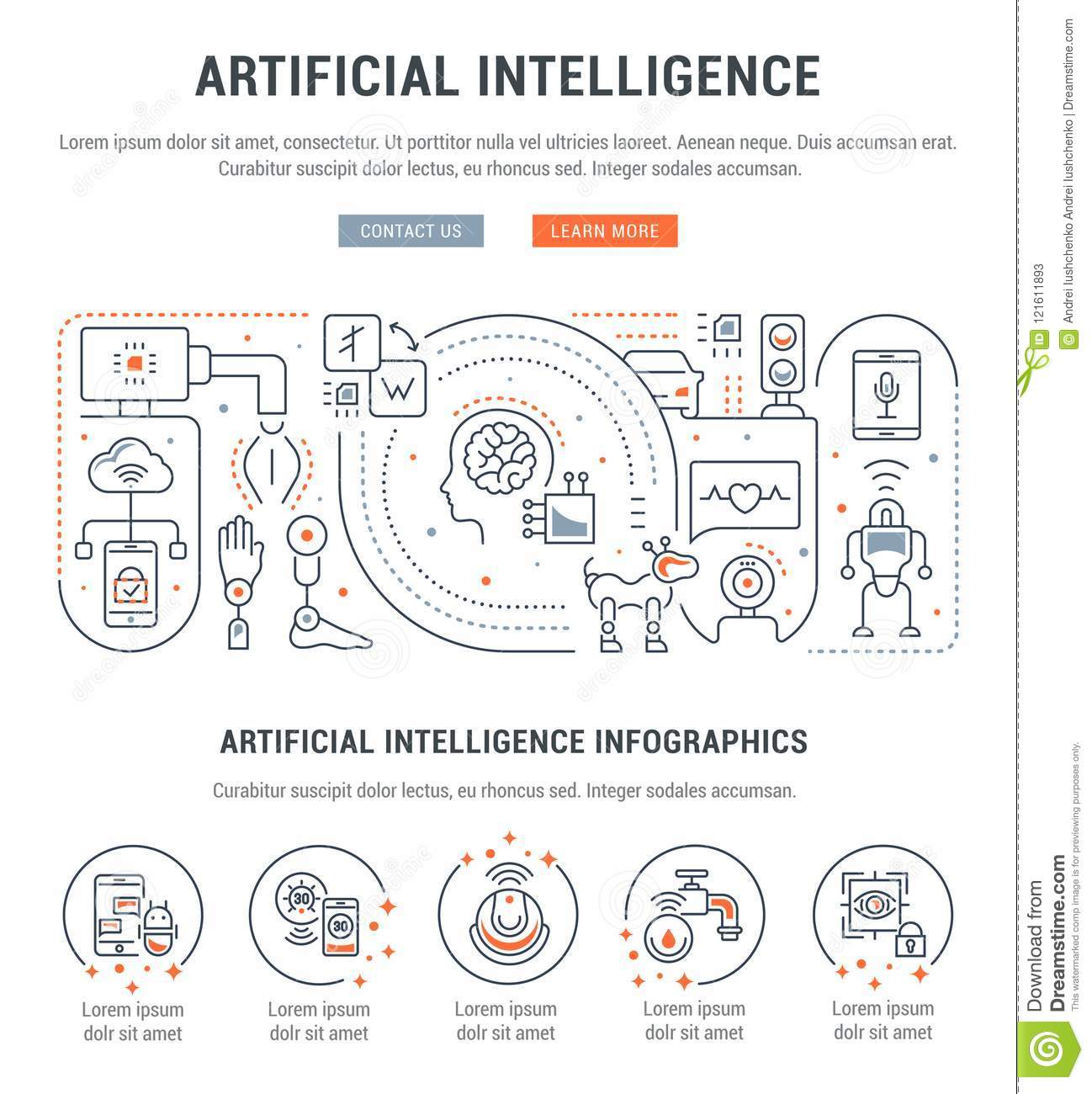 Linear Banner Of Artificial Intelligence Stock Illustration