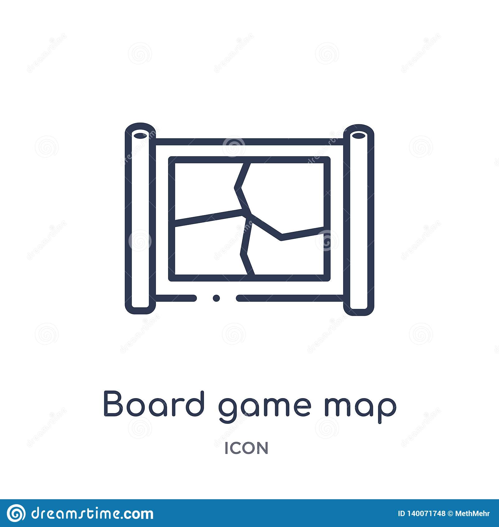 Linear board game map icon from Entertainment outline collection. Thin line board game map icon isolated on white background.