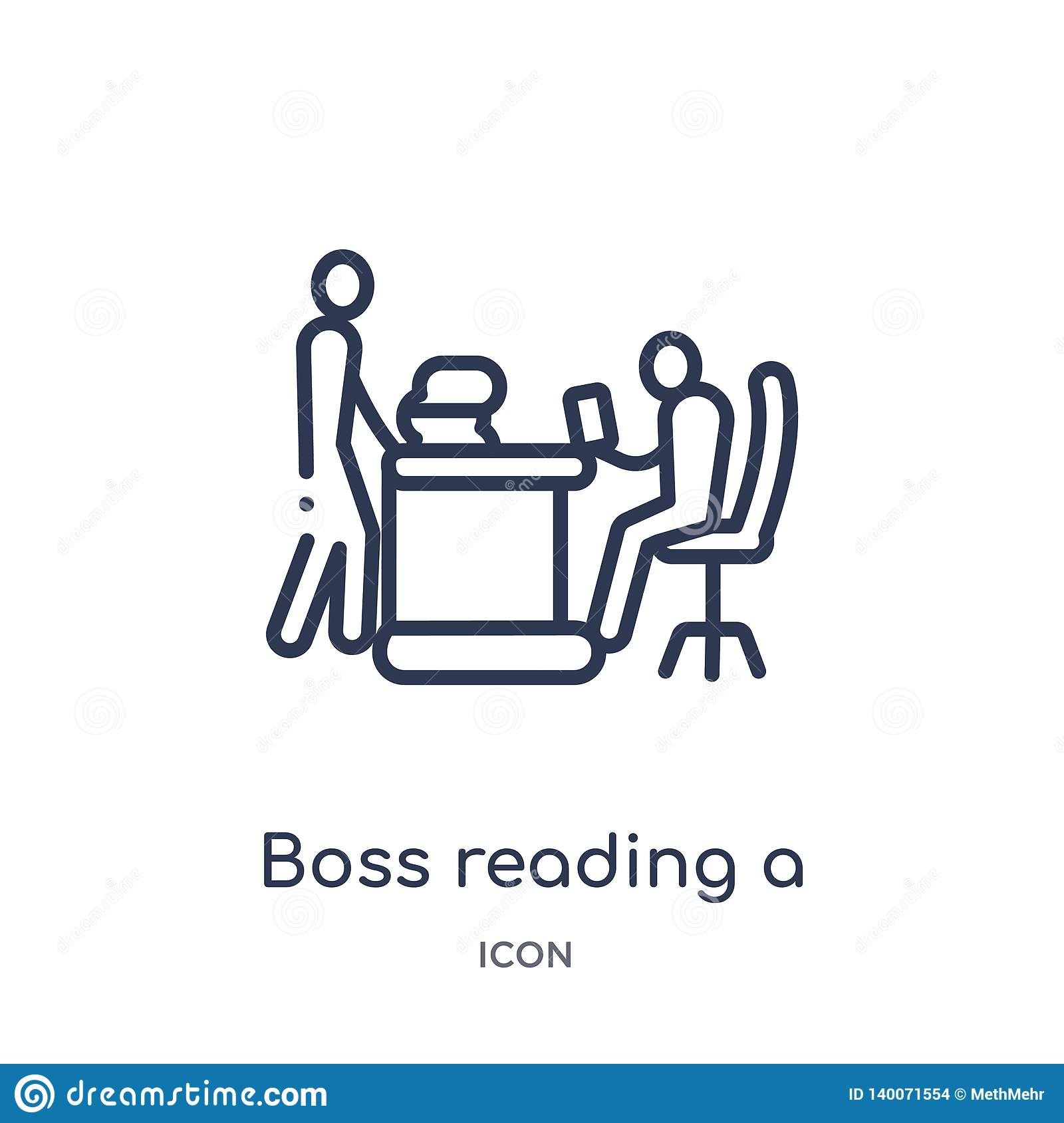 Linear boss reading a document icon from Business outline collection. Thin line boss reading a document icon isolated on white