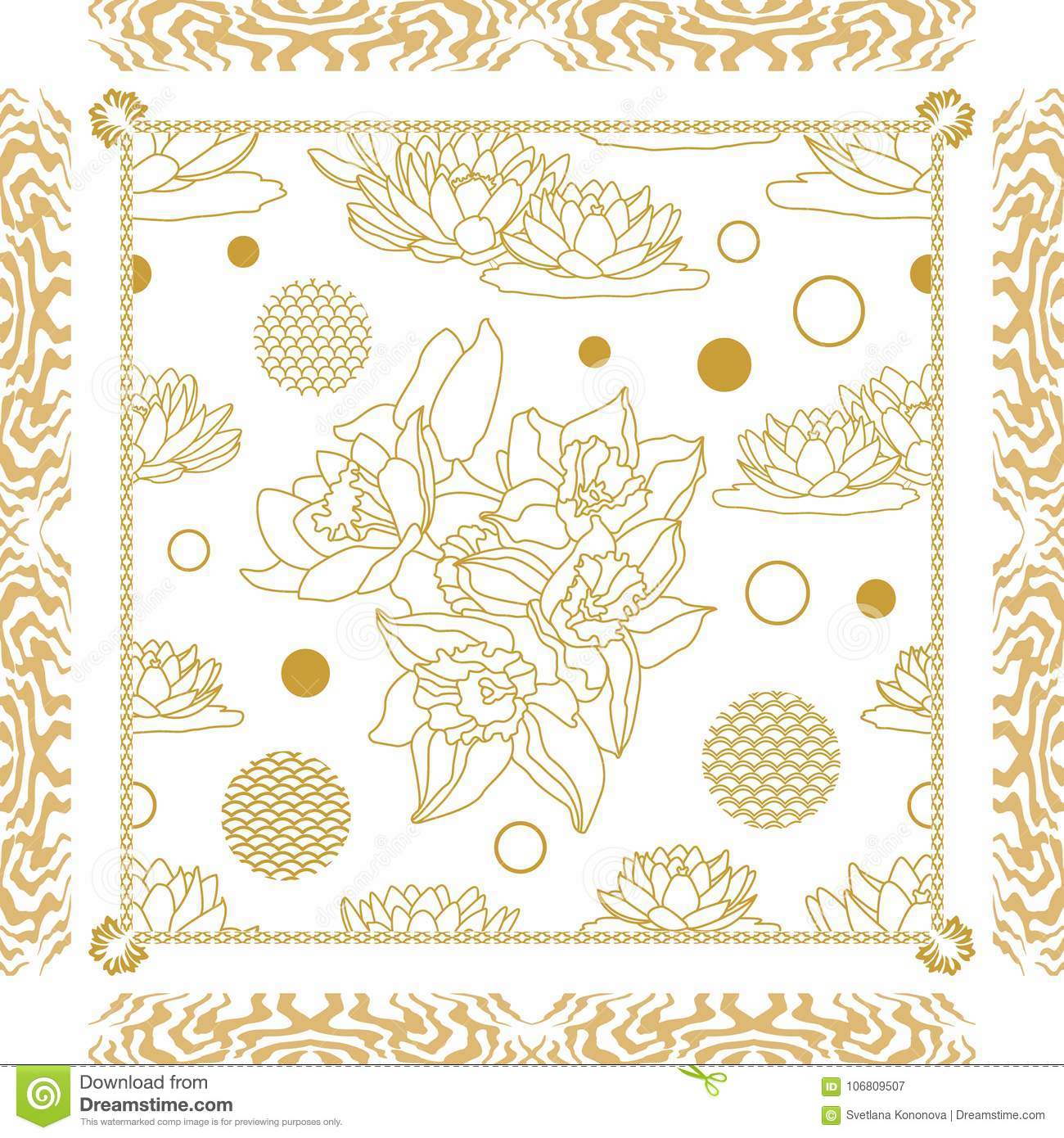 8ad13132c05 Linear botanical pattern with retro motifs. Vintage textile collection.