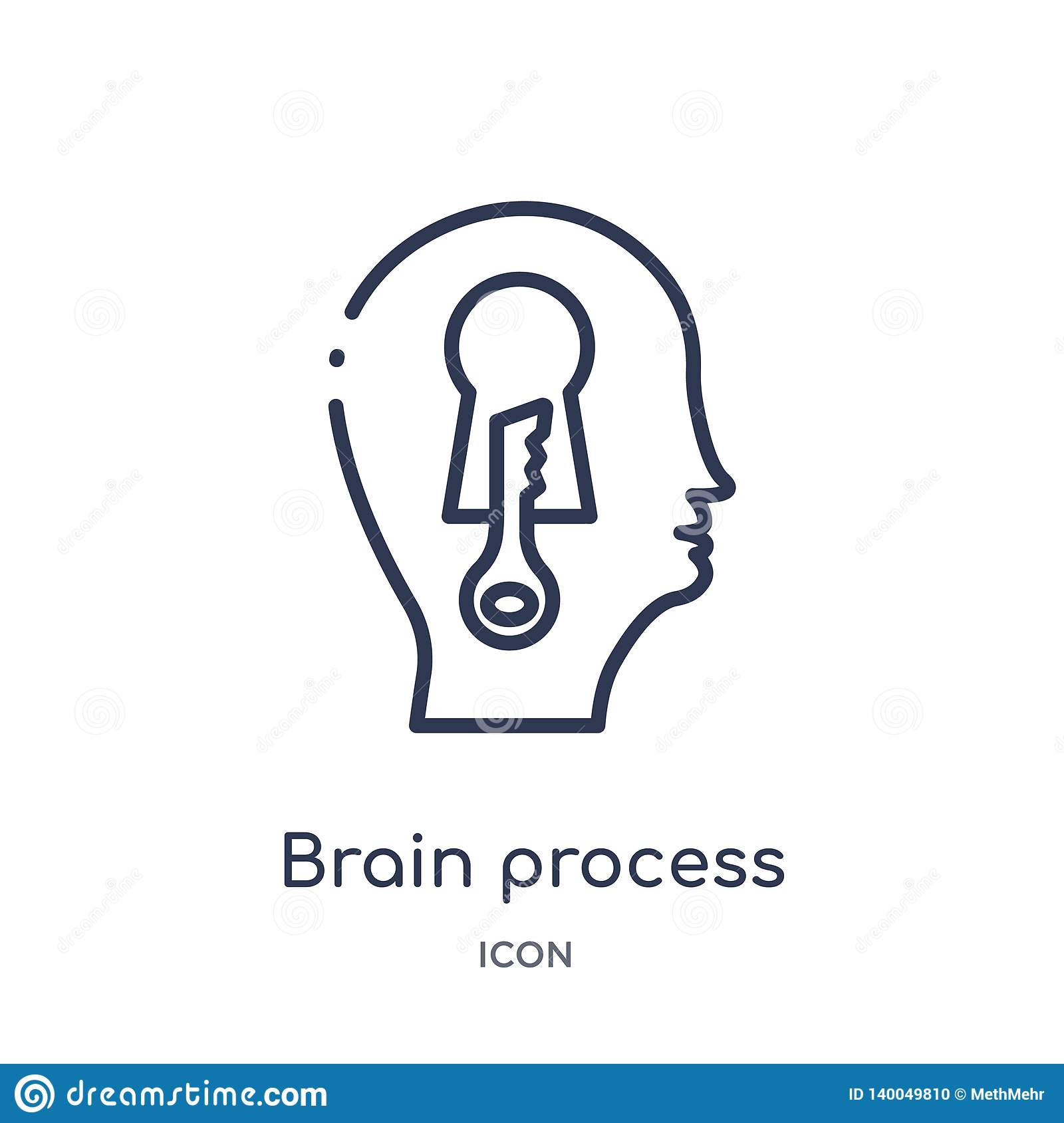 Linear brain process icon from Brain process outline collection. Thin line brain process vector isolated on white background.