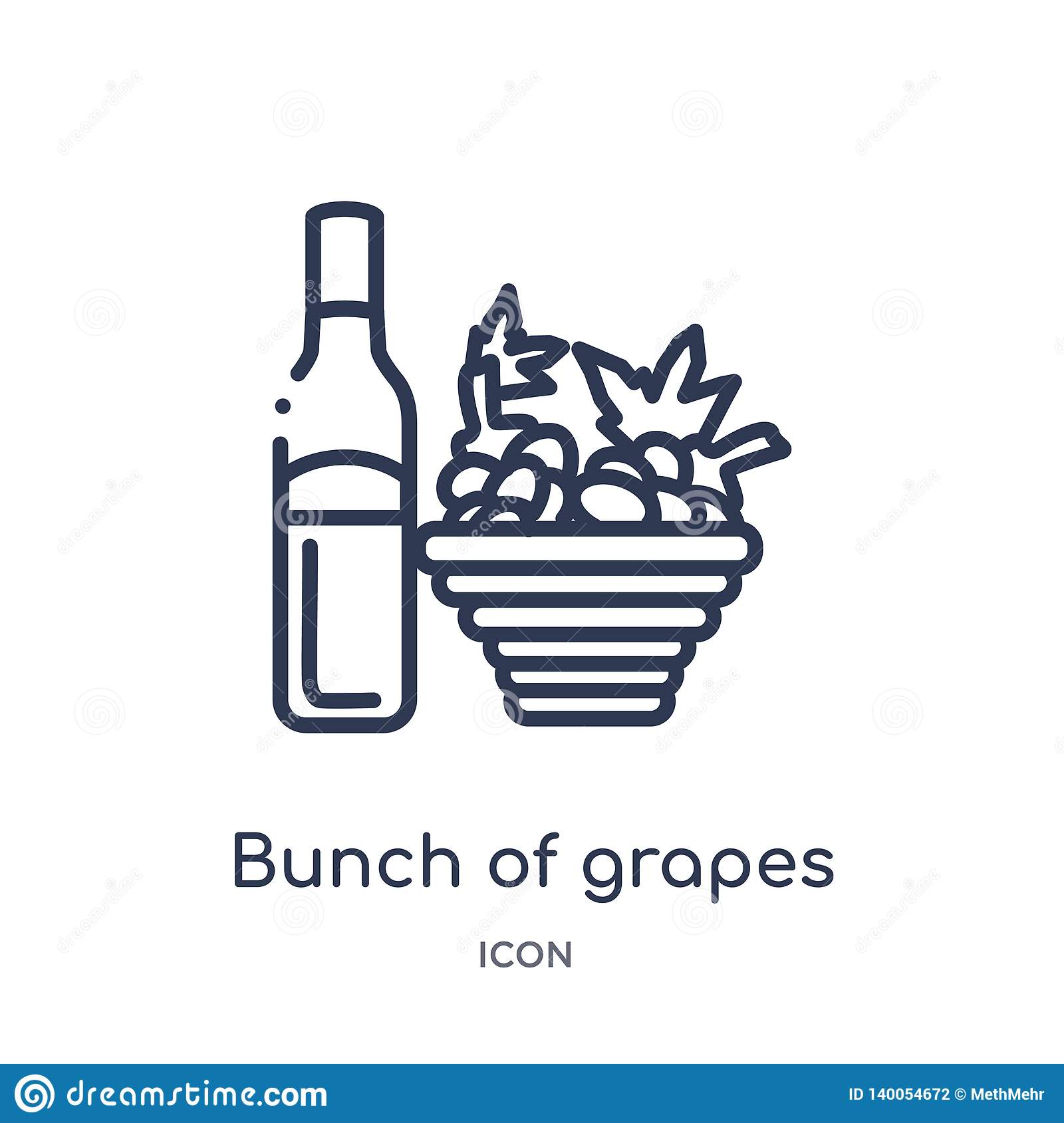 Linear bunch of grapes icon from Drinks outline collection. Thin line bunch of grapes vector isolated on white background. bunch