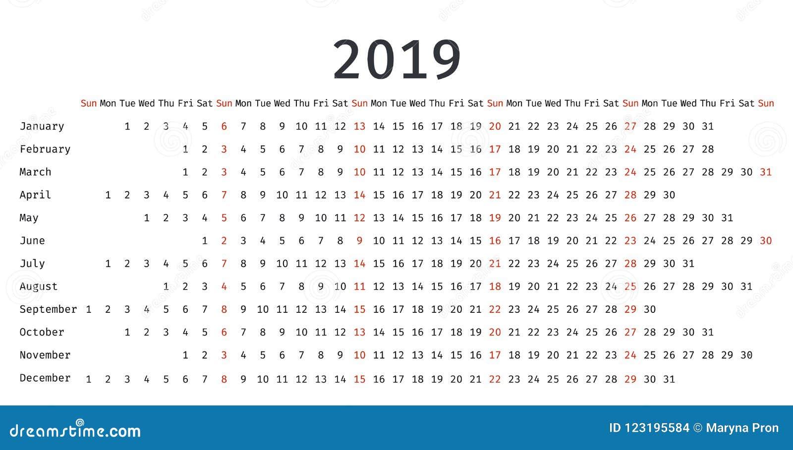 2019 Linear Calendar In Simple Style Vector Illustration Stock