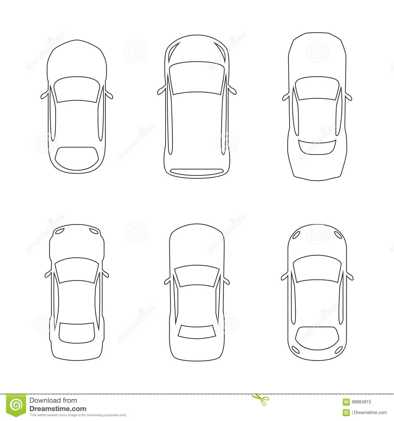 Linear Car Top Icons Stock Illustration Illustration Of Cargo