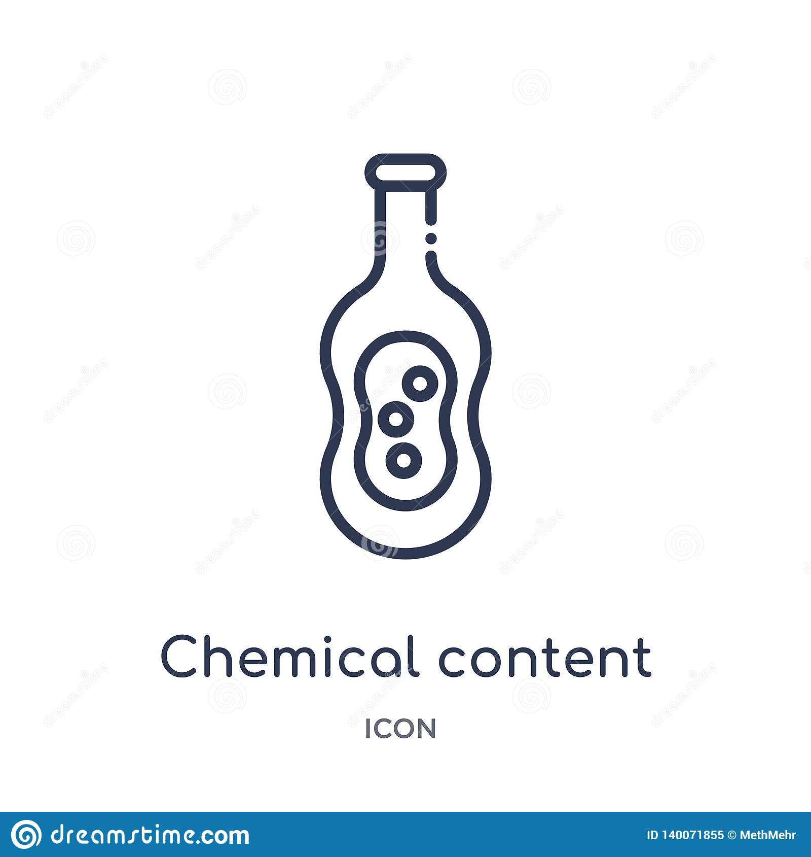 Linear chemical content icon from Education outline collection. Thin line chemical content icon isolated on white background.