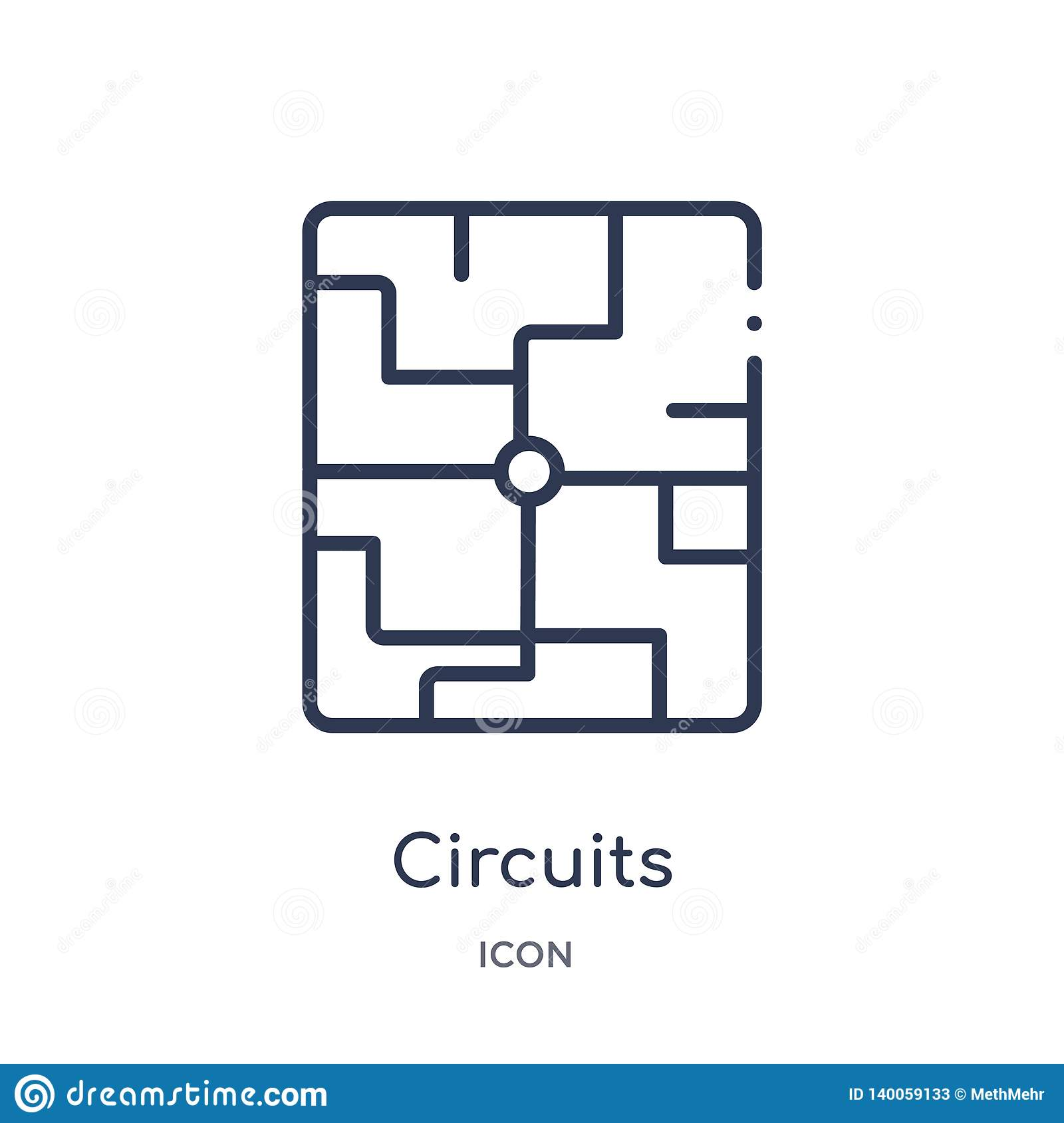 Linear circuits icon from Hardware outline collection. Thin line circuits icon isolated on white background. circuits trendy