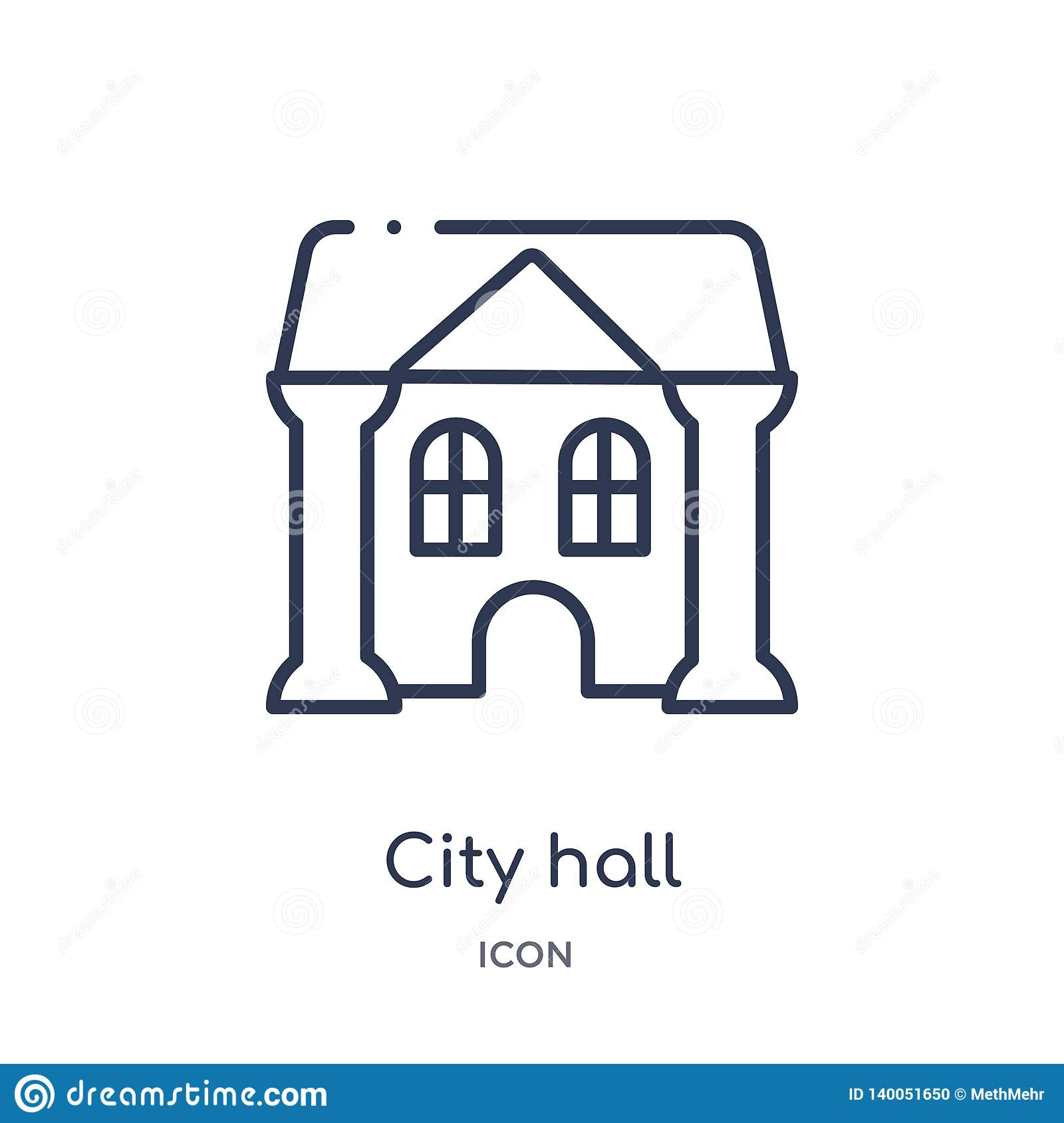 Linear city hall icon from City elements outline collection. Thin line city hall vector isolated on white background. city hall