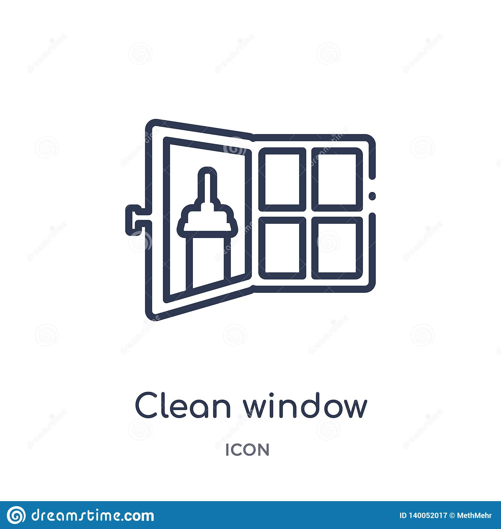 Linear Clean Window Icon From Cleaning Outline Collection  Thin Line