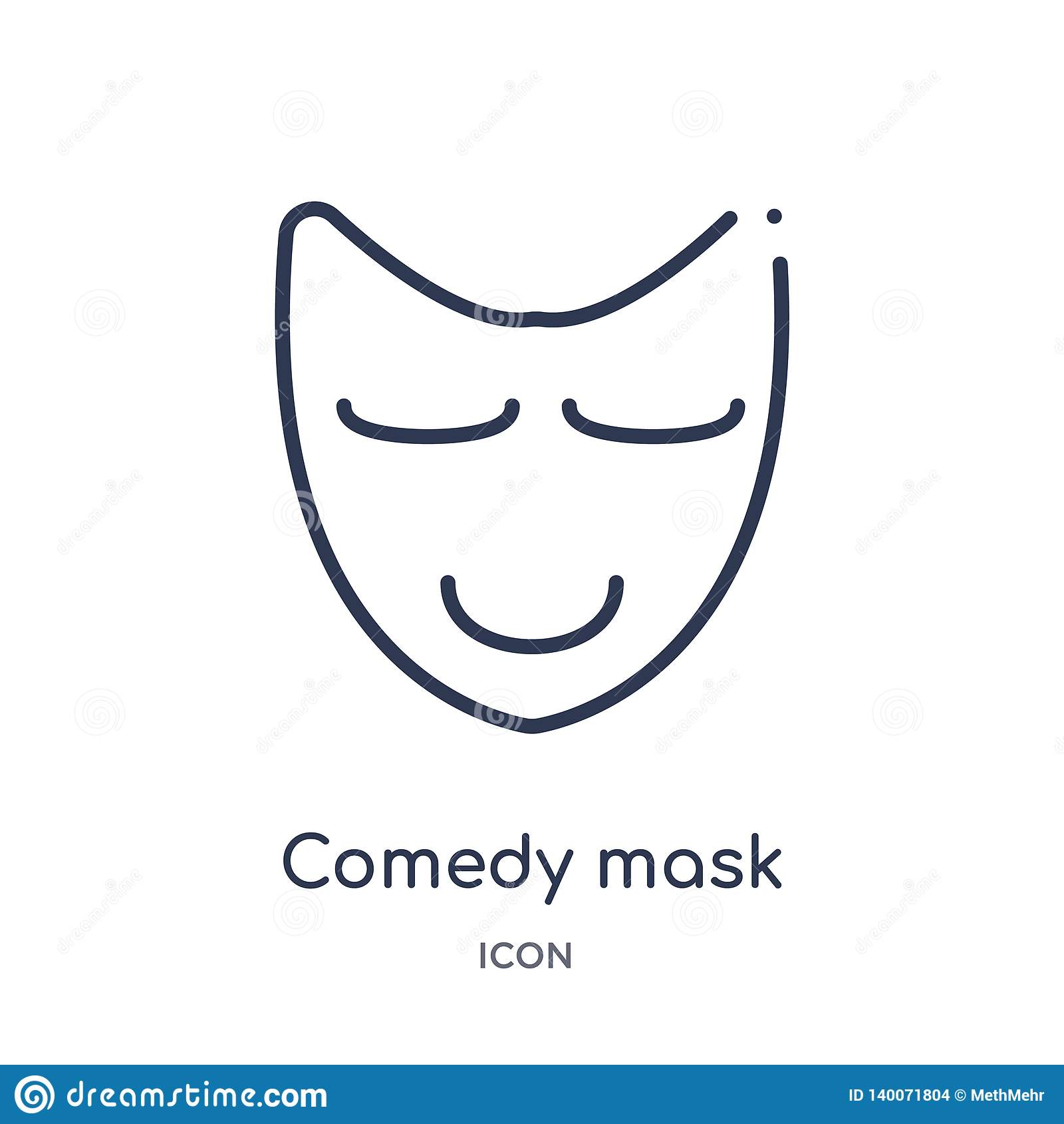 Linear comedy mask icon from Education outline collection. Thin line comedy mask icon isolated on white background. comedy mask