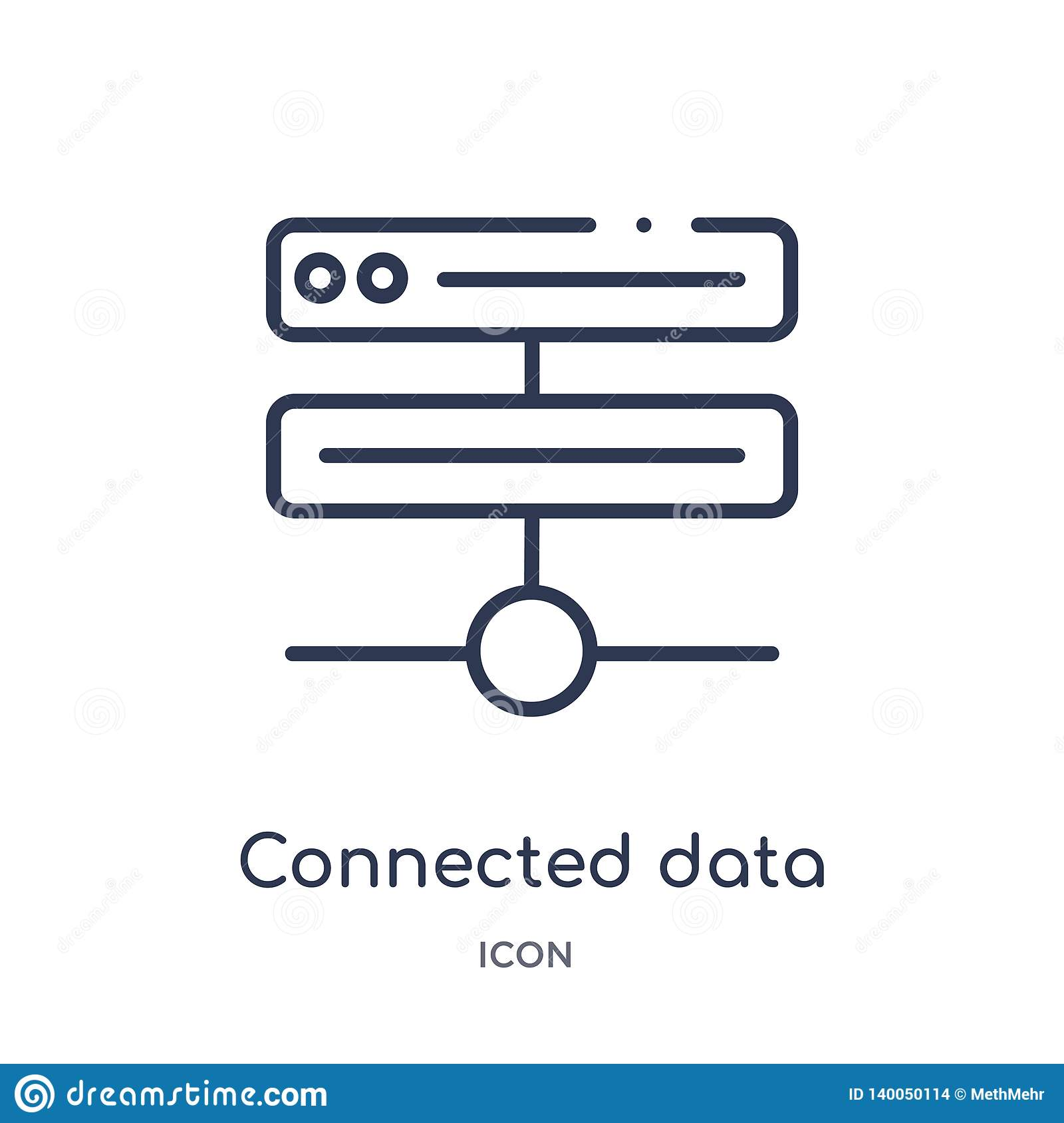 Linear connected data icon from Business and analytics outline collection. Thin line connected data vector isolated on white