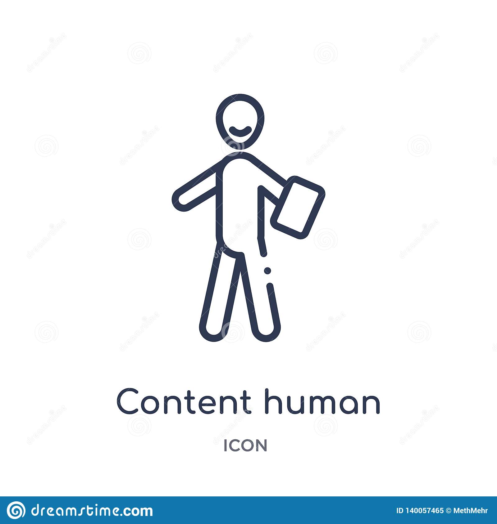 Linear content human icon from Feelings outline collection. Thin line content human vector isolated on white background. content