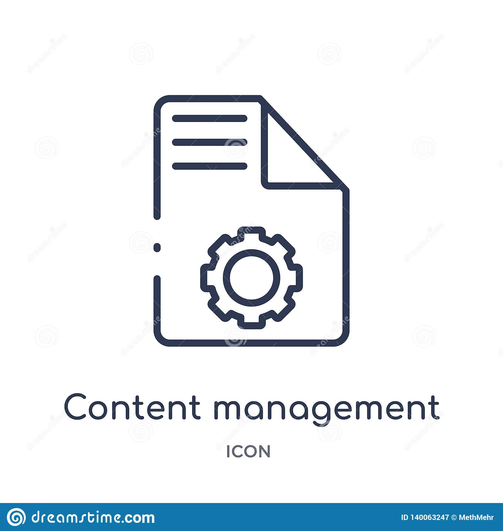Linear content management icon from Marketing outline collection. Thin line content management icon isolated on white background.