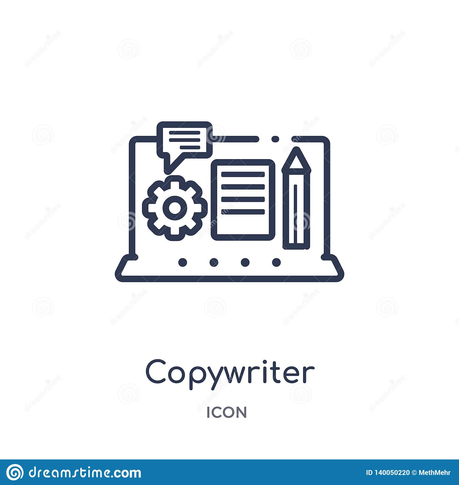 Linear copywriter icon from Blogger and influencer outline collection. Thin line copywriter vector isolated on white background.