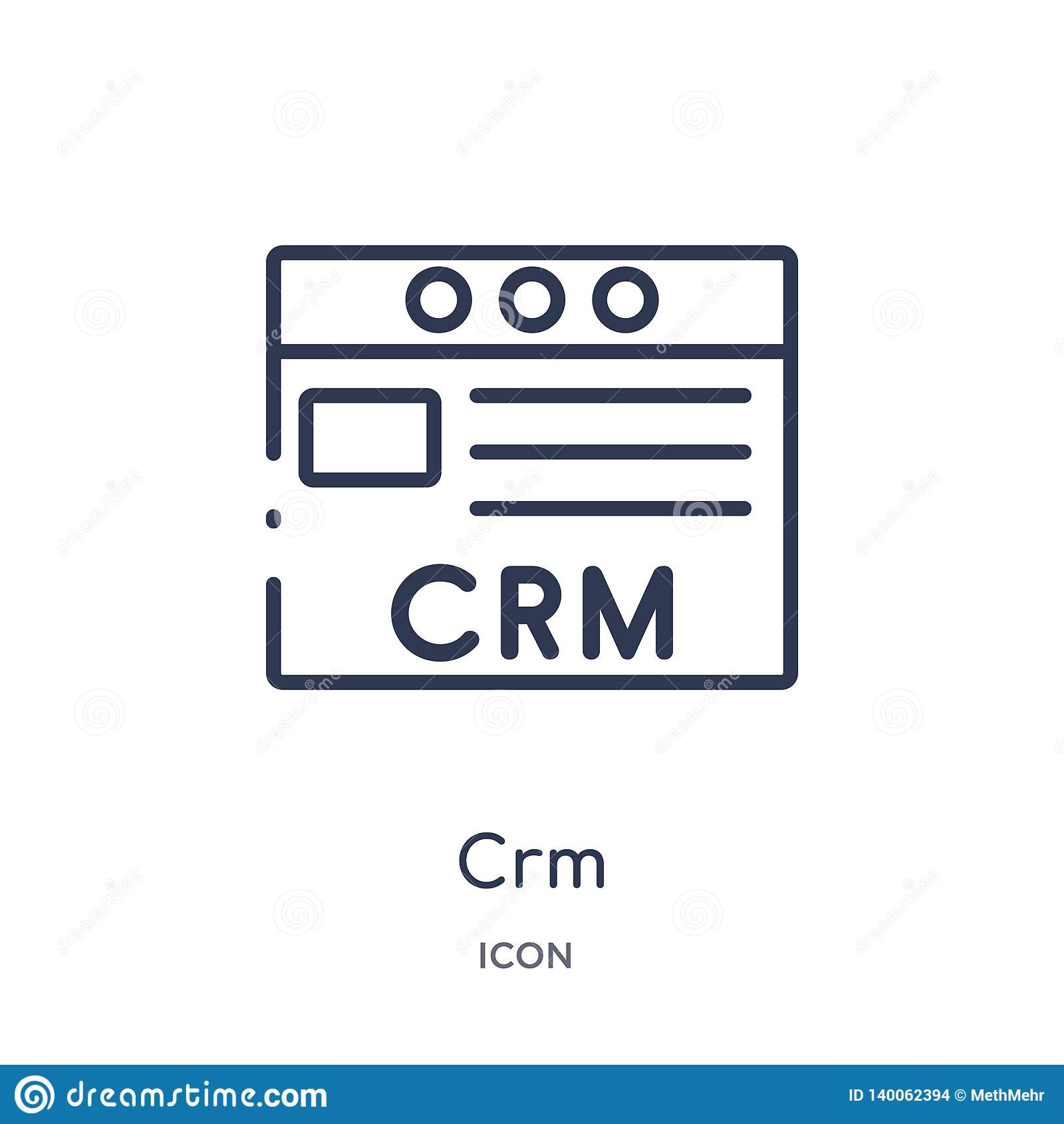 Linear crm icon from Marketing outline collection. Thin line crm icon isolated on white background. crm trendy illustration