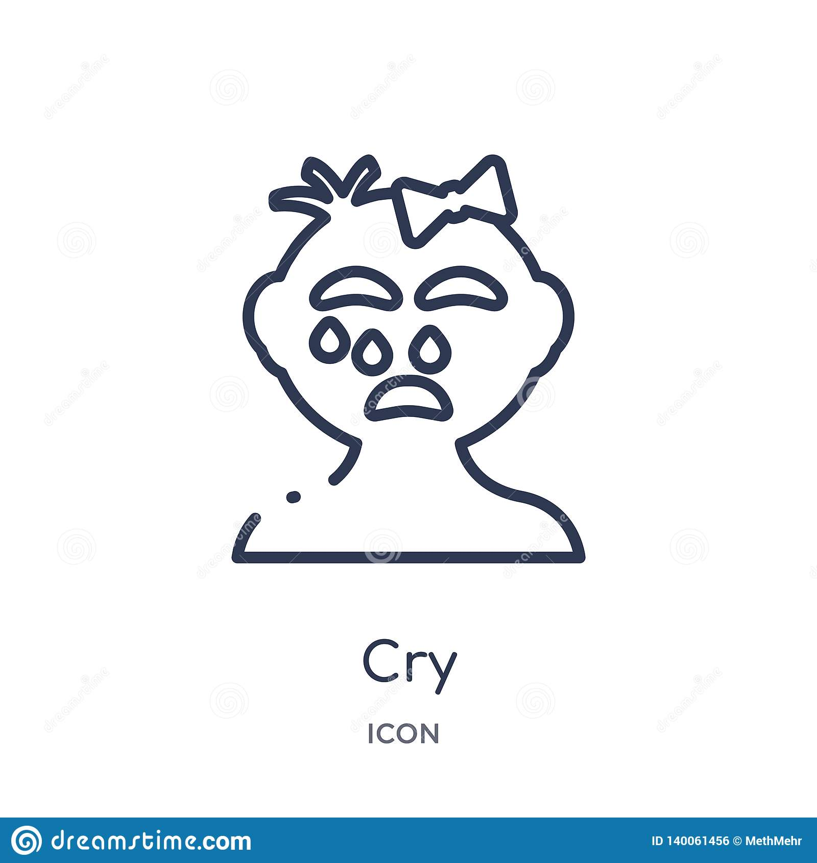 Linear cry icon from Kid and baby outline collection. Thin line cry icon isolated on white background. cry trendy illustration