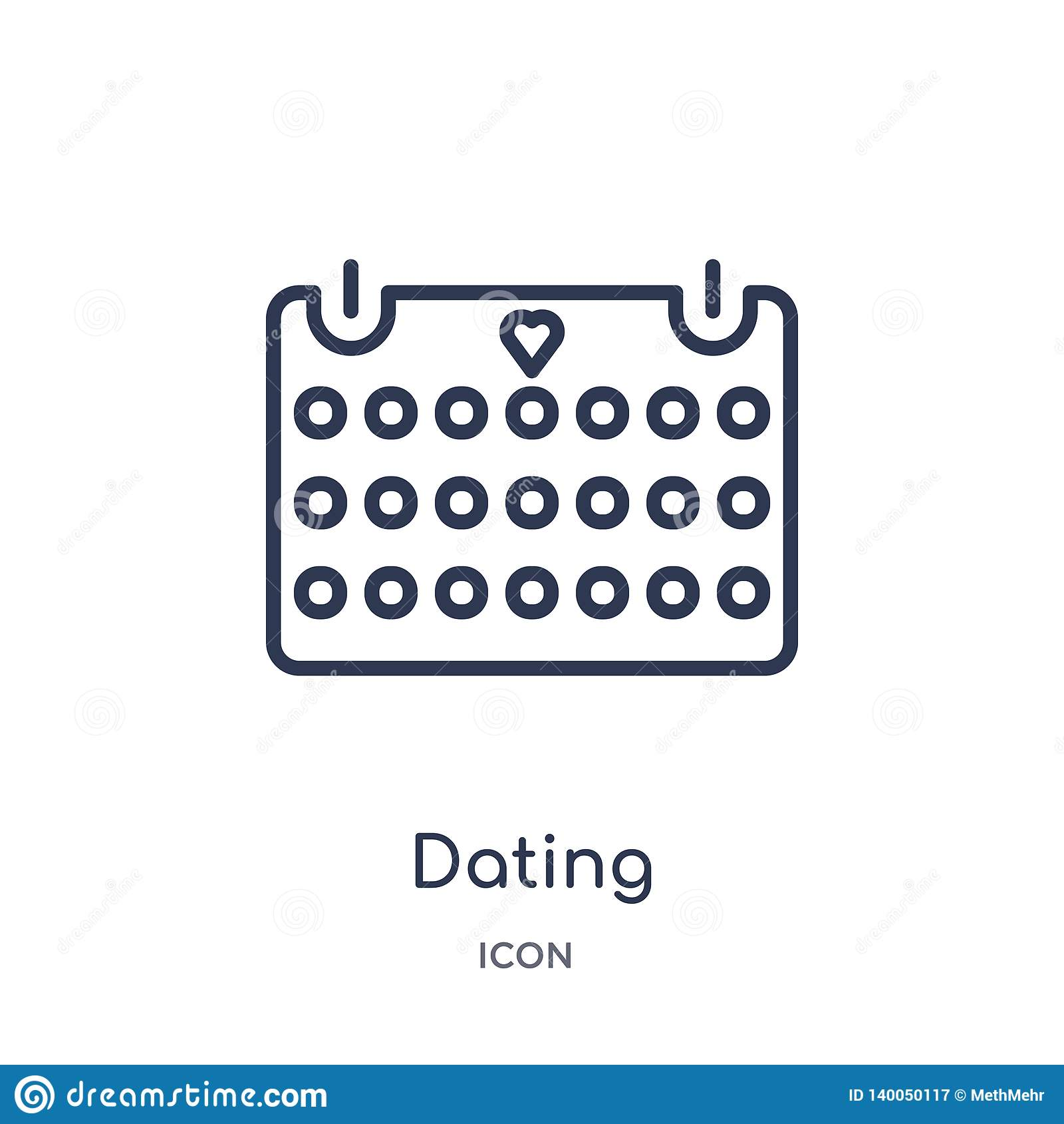 Linear dating icon from Birthday party outline collection. Thin line dating vector isolated on white background. dating trendy