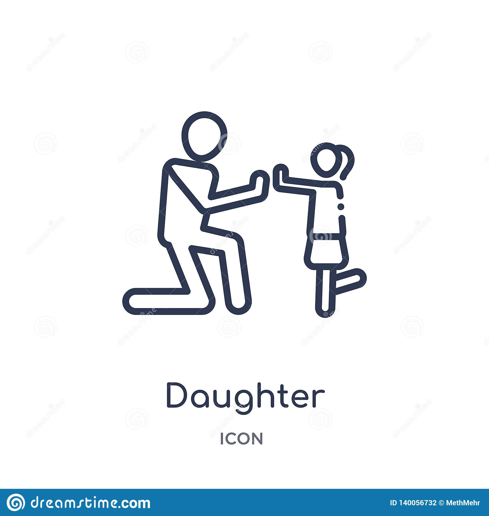 Linear daughter icon from Family relations outline collection. Thin line daughter vector isolated on white background. daughter