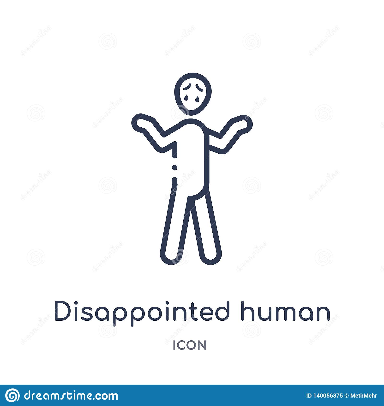 Linear disappointed human icon from Feelings outline collection. Thin line disappointed human vector isolated on white background