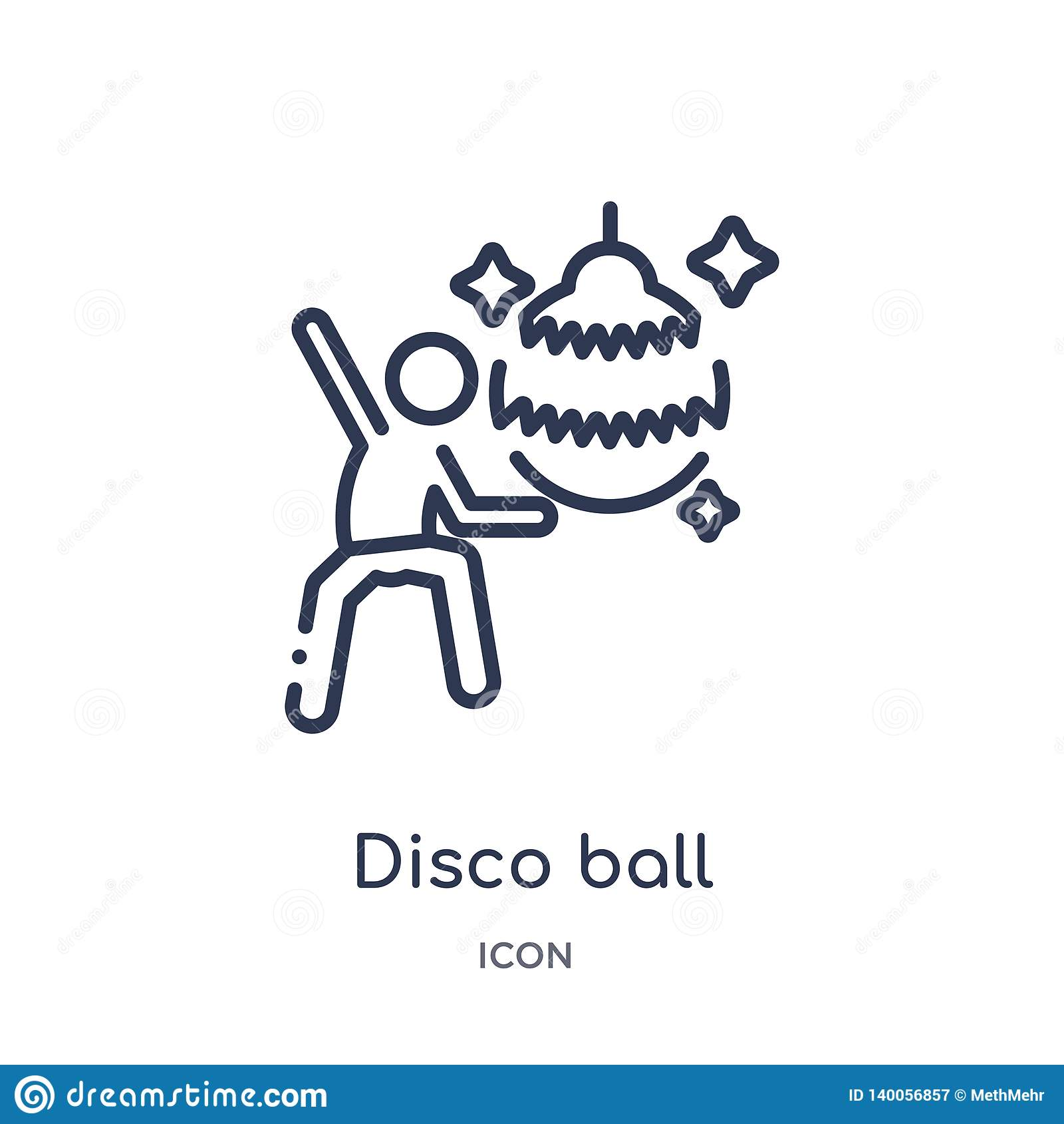 Linear disco ball icon from Free time outline collection. Thin line disco ball vector isolated on white background. disco ball