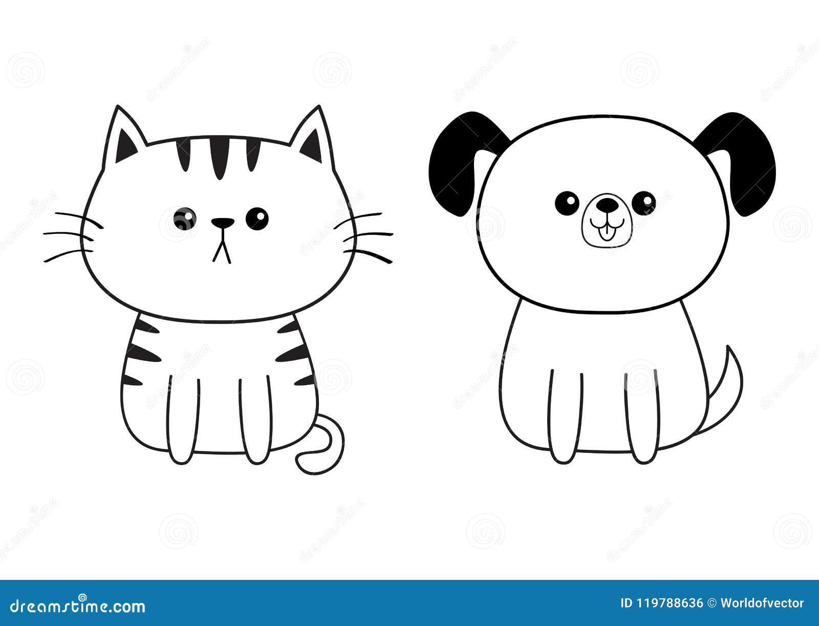 Linear Dog Cat Face Head Silhouette Icon Contour Line Cute