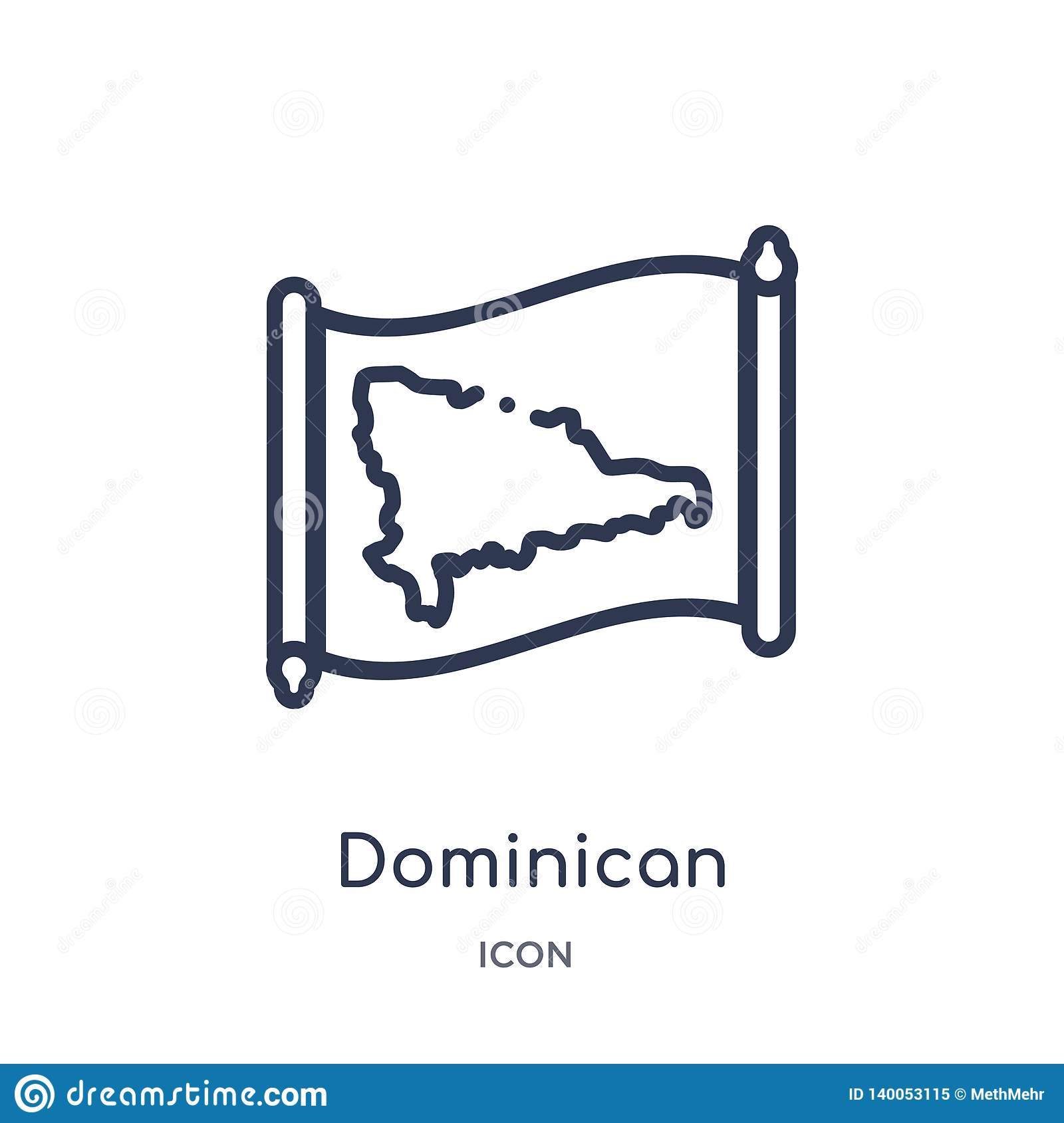 Linear dominican republic map icon from Countrymaps outline collection. Thin line dominican republic map vector isolated on white