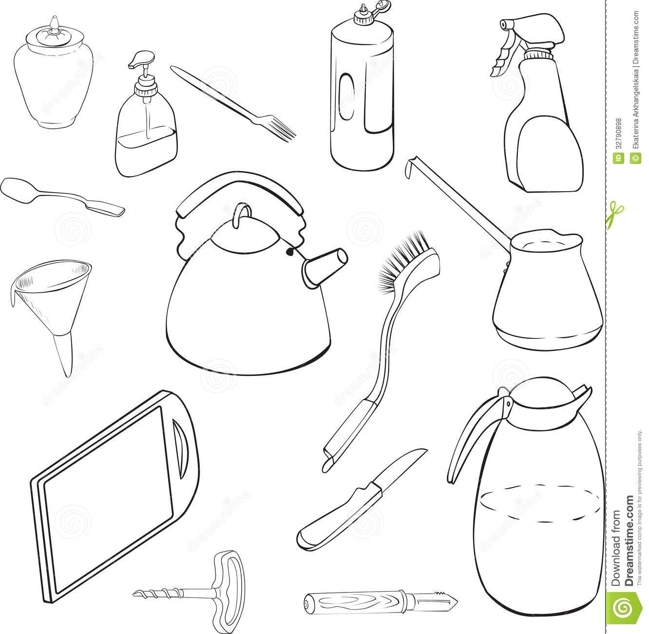 Linear Drawing Of Pots And Pans Stock Photo Image 32790898