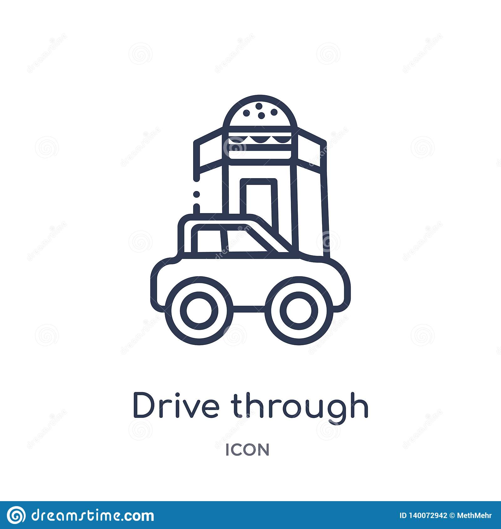 Linear drive through icon from Food outline collection. Thin line drive through icon isolated on white background. drive through