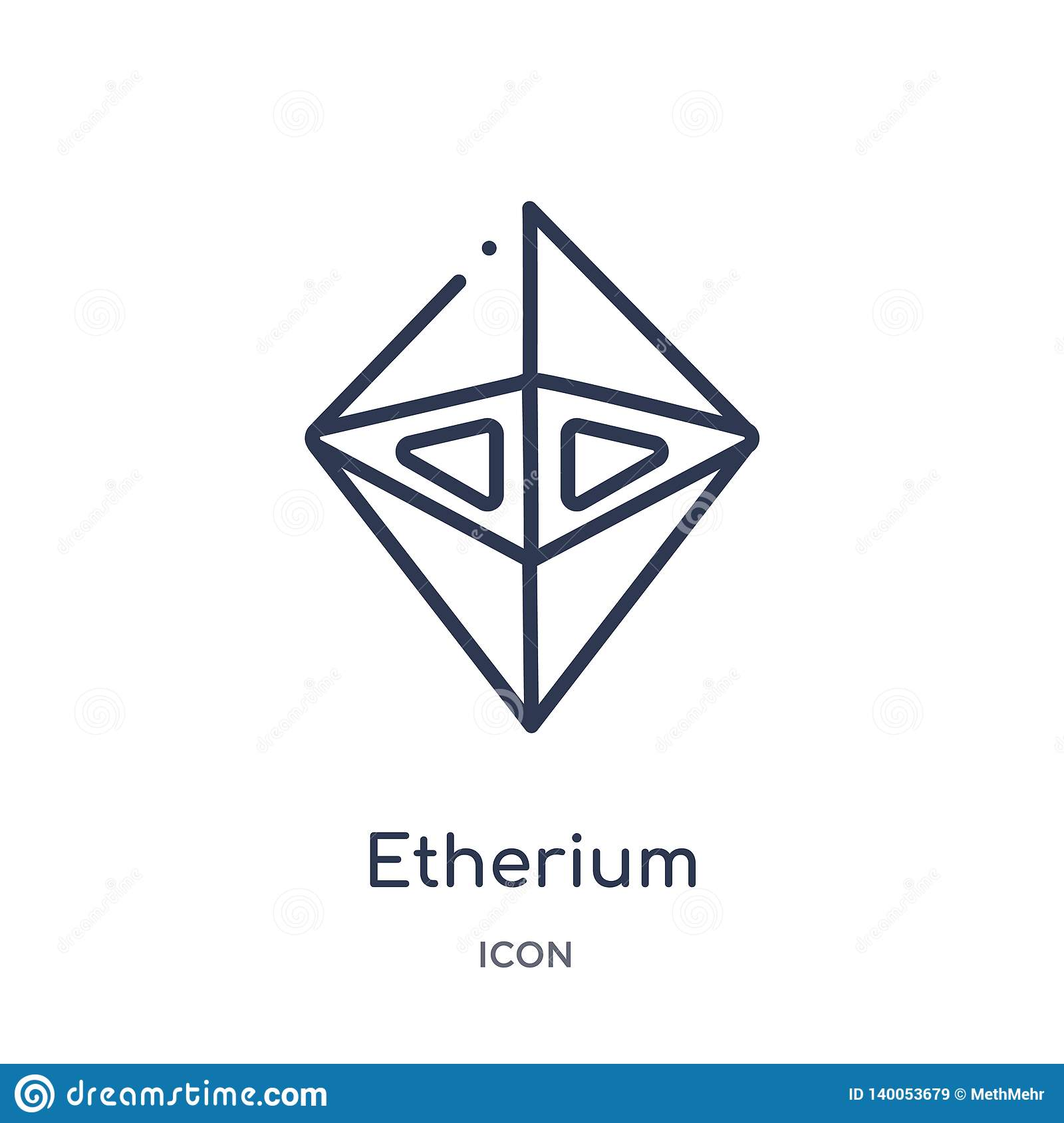 Linear etherium icon from Cryptocurrency economy and finance outline collection. Thin line etherium vector isolated on white