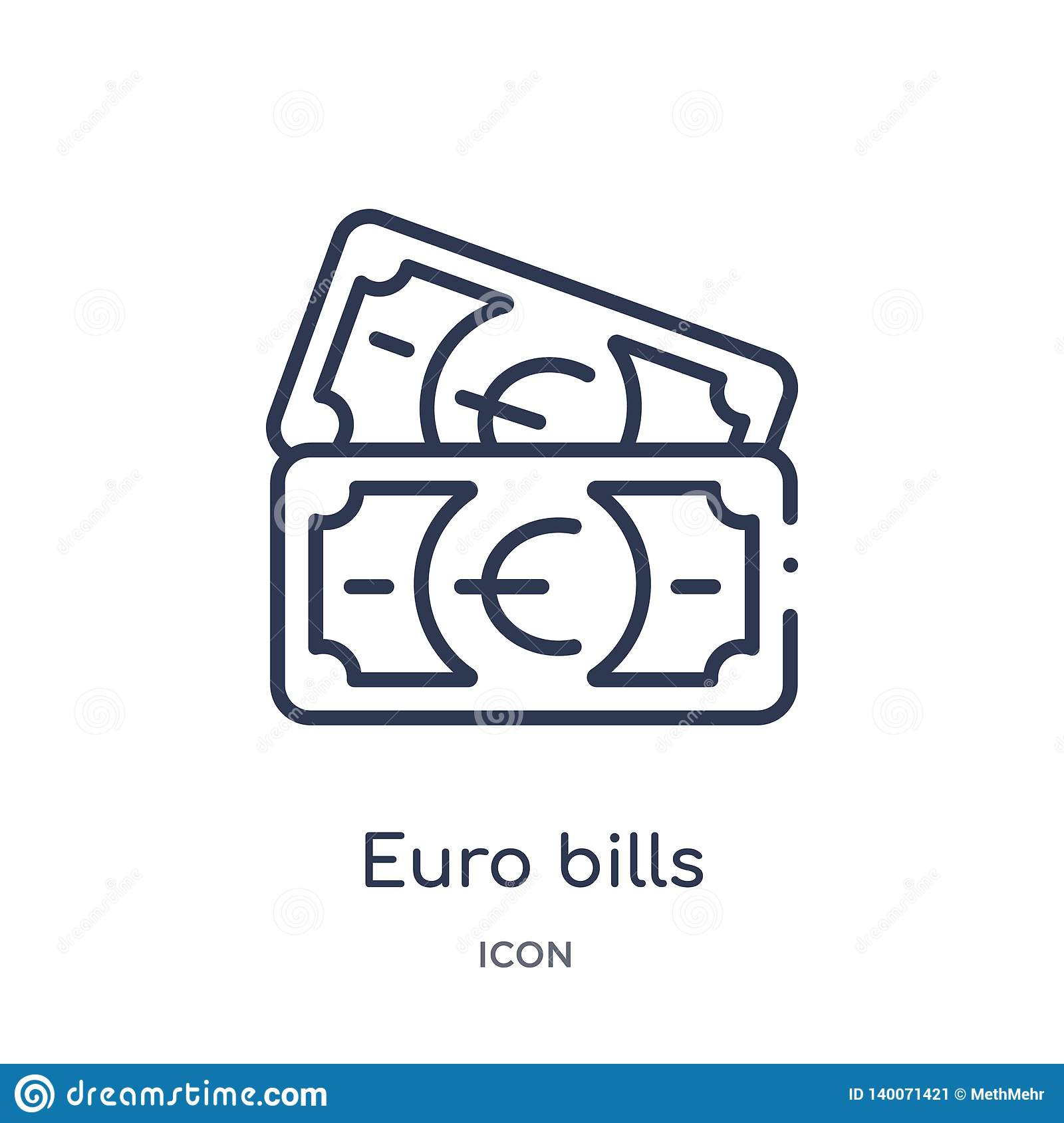 Linear euro bills icon from Business outline collection. Thin line euro bills icon isolated on white background. euro bills trendy