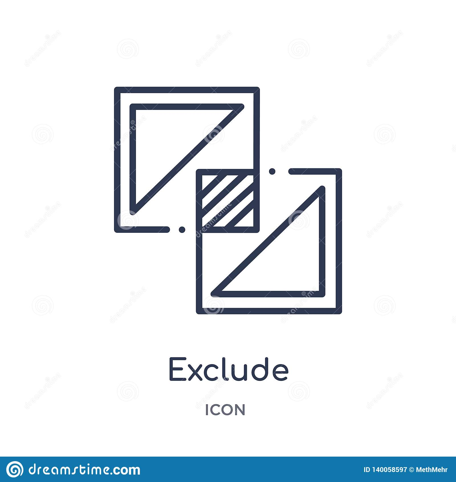 Linear exclude icon from Geometric figure outline collection. Thin line exclude icon isolated on white background. exclude trendy
