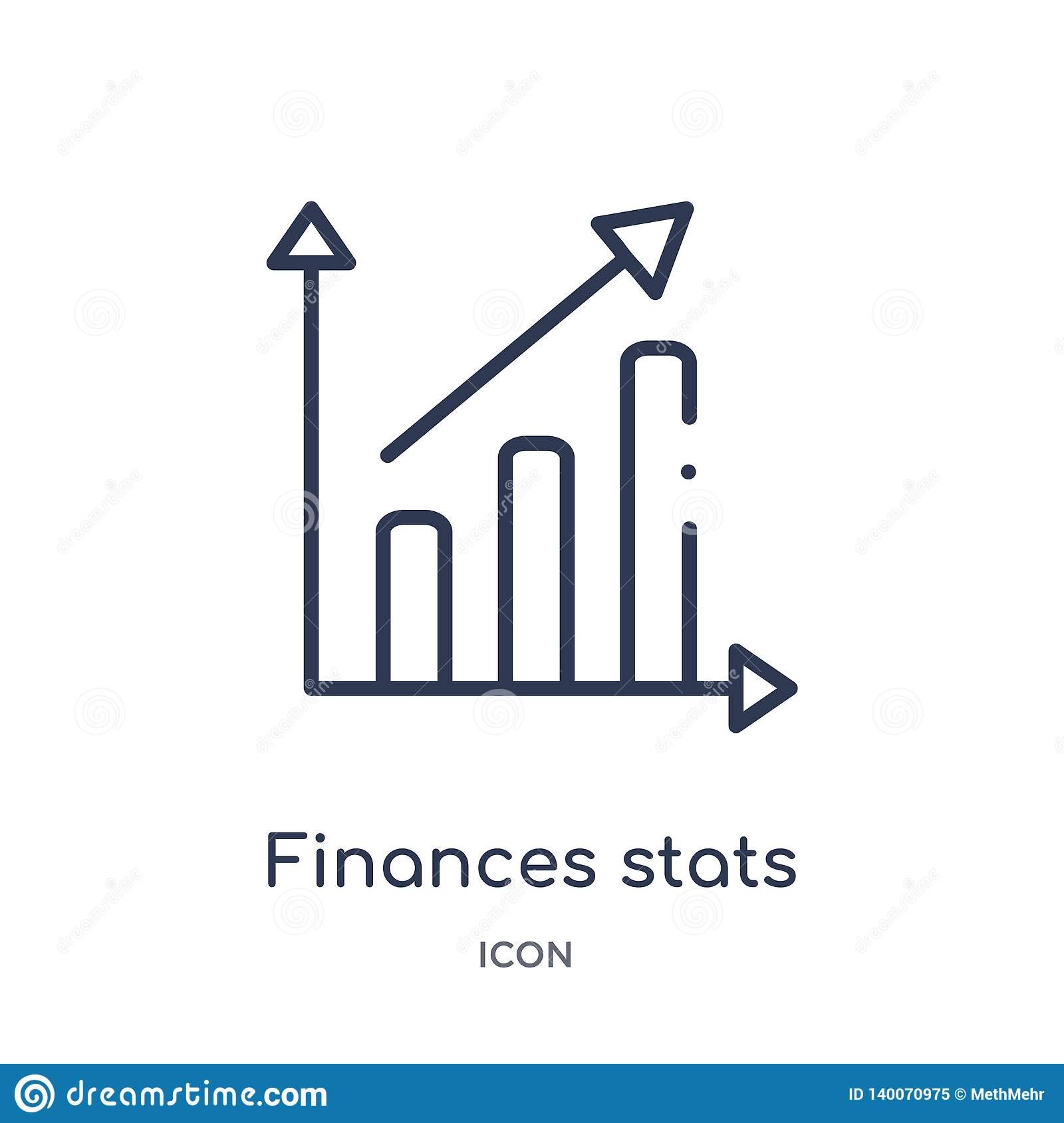 Linear finances stats bars graphic with up arrow icon from Business outline collection. Thin line finances stats bars graphic with