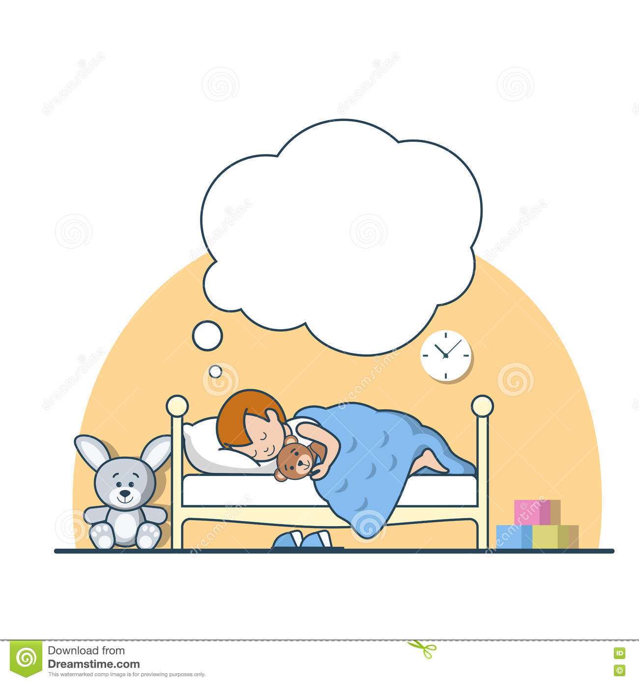 Boy Is Sleeping In His Bedroom Cartoon Vector