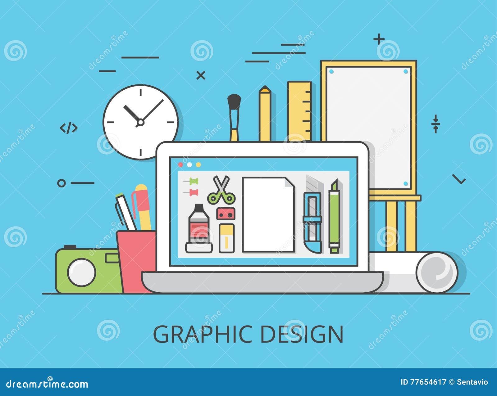 Download Linear Flat Graphic Design Website Art Tools Vector Stock