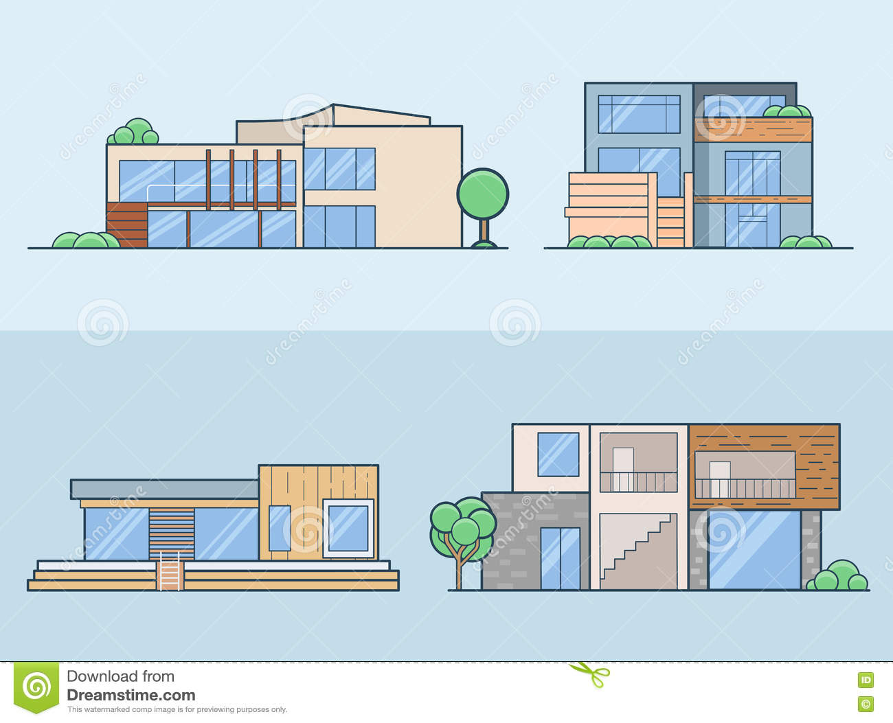 House models vector design vector illustration for Building houses with side views
