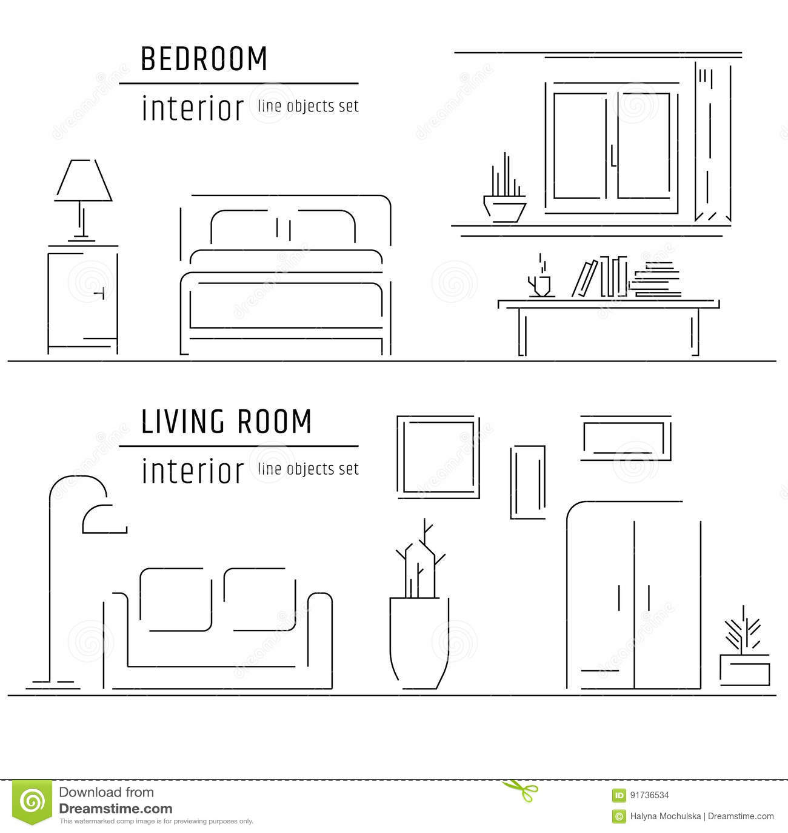 Linear Flat Interior Design Illustration Of Modern Designer