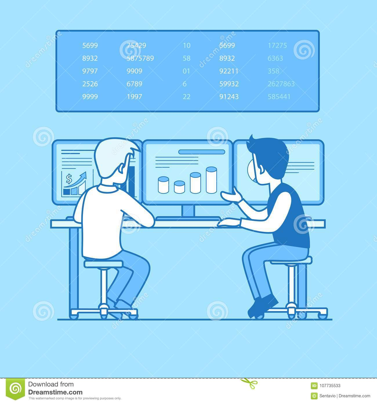 Linear Flat Line Art Business Office Interior Desk Stock Back Of Computer Diagram Two Businessman Rear View Working Graph Chart On Pc Screen Board With Numbers Businesspeople Illustration