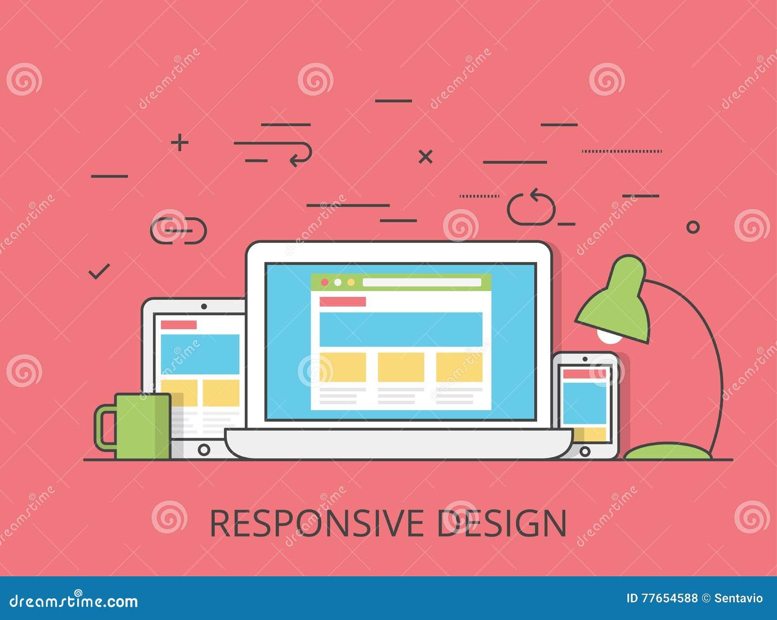 Lineart flat software responsive web design vector cartoon for App layout design software