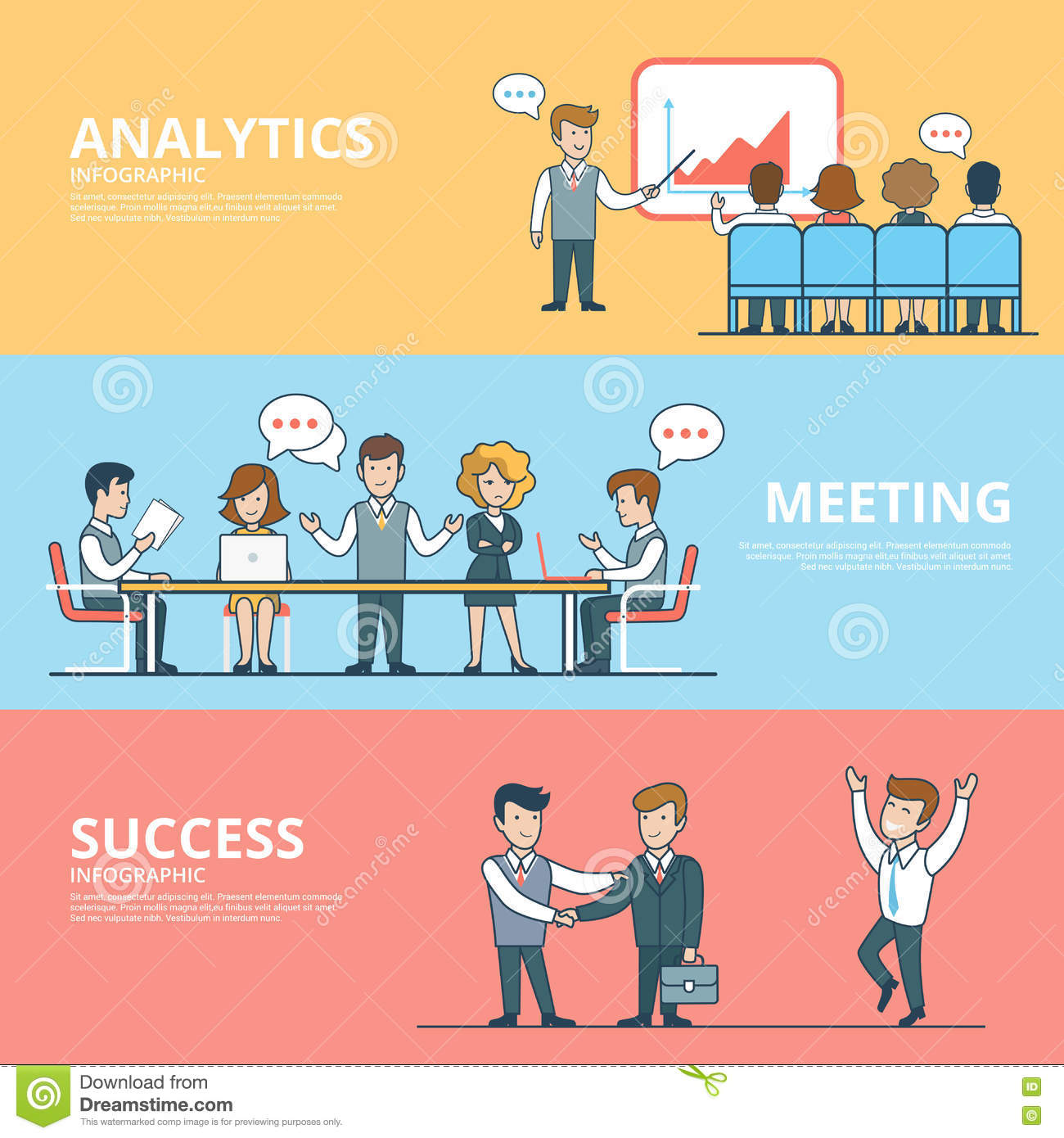 Linear Flat success in business analytics meeting