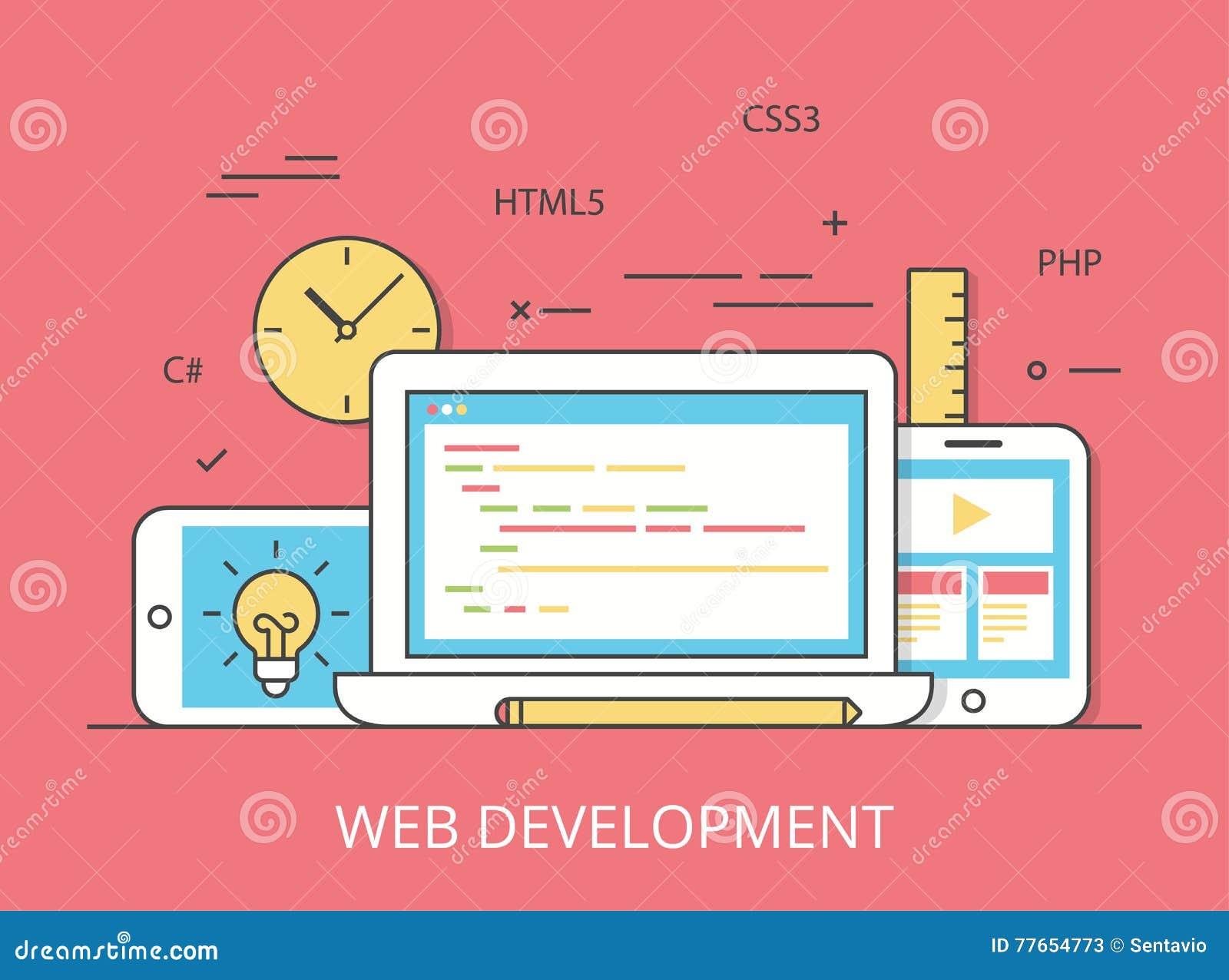 Linear flat web site development programming vector stock for App layout design software