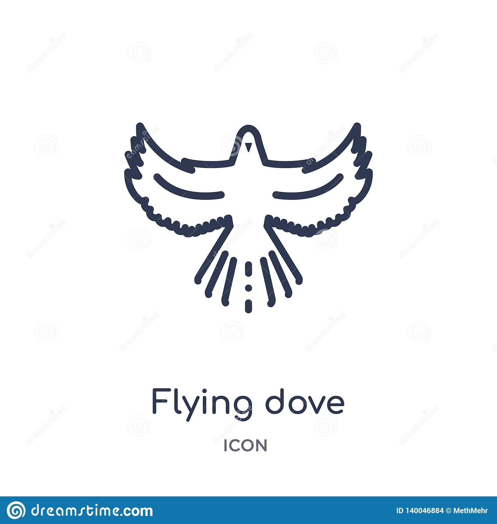 Linear flying dove icon from Animals and wildlife outline collection. Thin line flying dove vector isolated on white background.