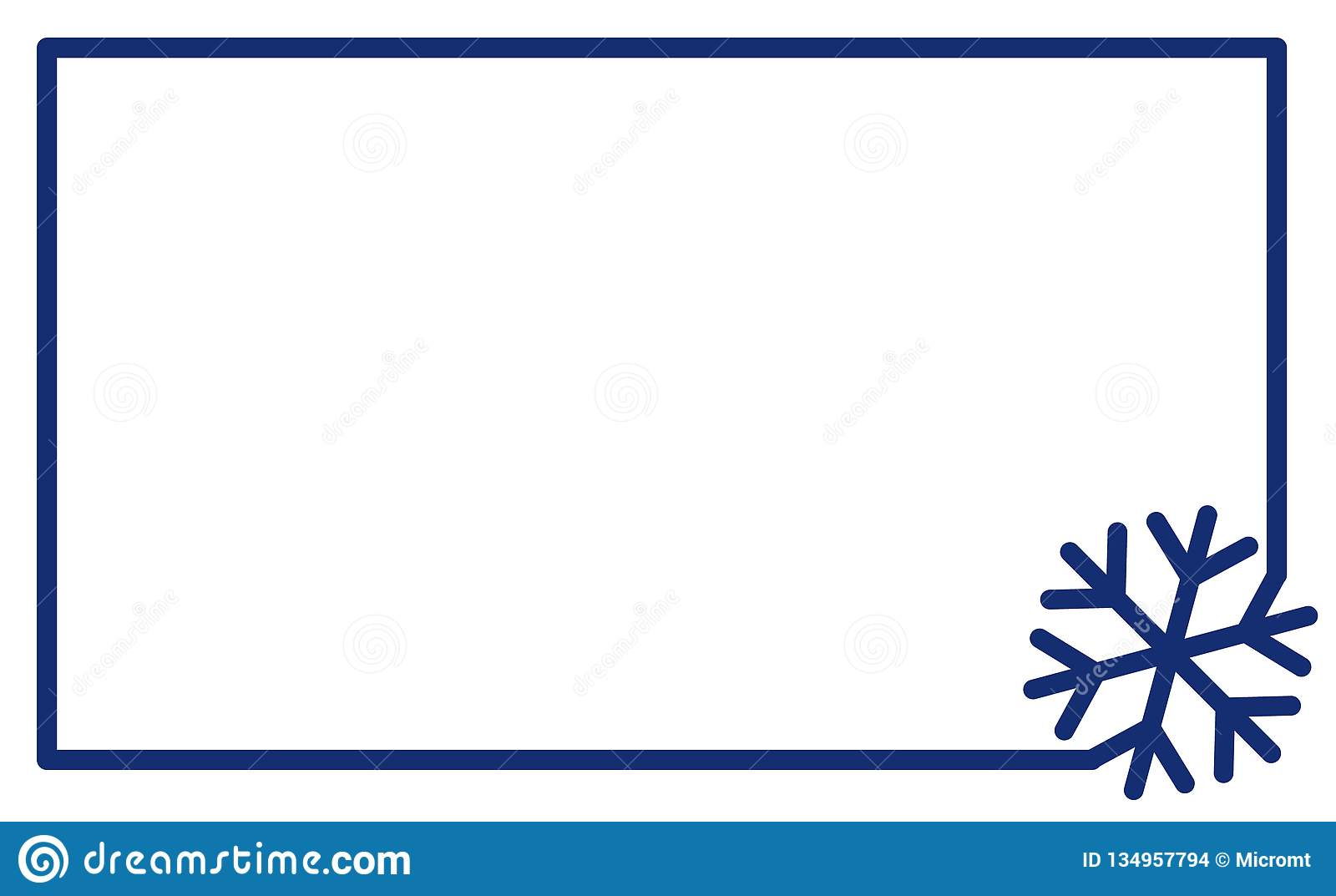 Linear Frame With Corner Element Snowflake Vector  Label