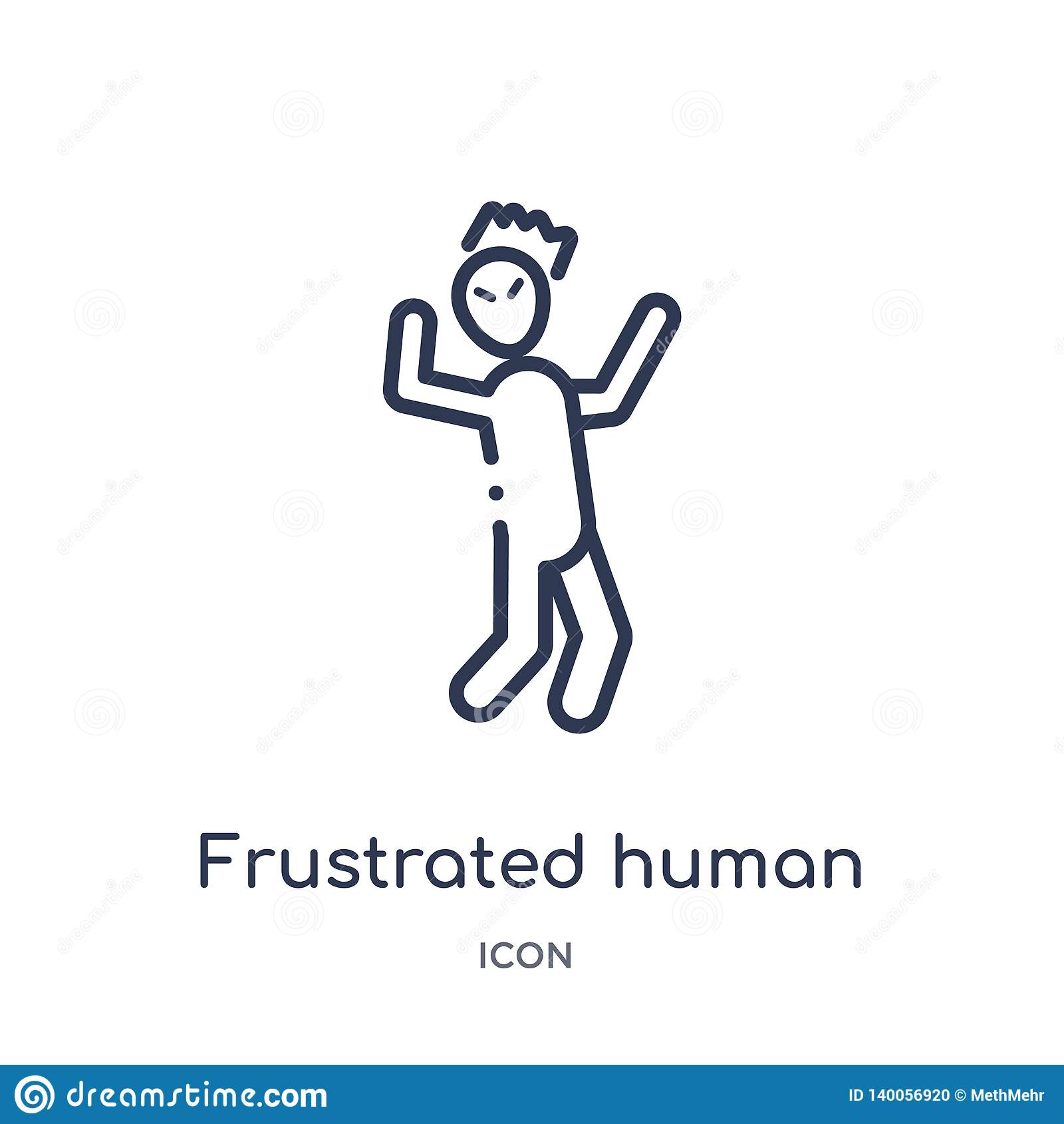 Linear frustrated human icon from Feelings outline collection. Thin line frustrated human vector isolated on white background.
