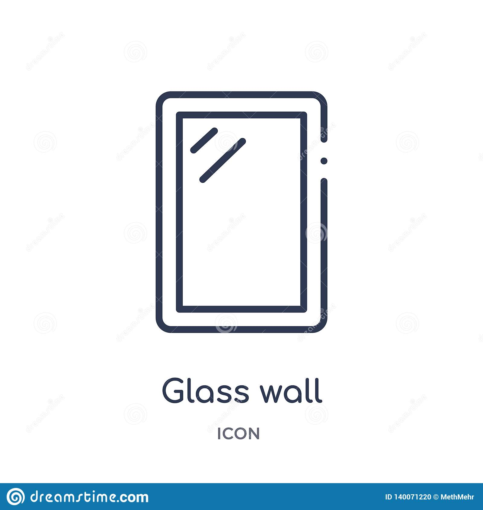 Linear glass wall icon from Construction and tools outline collection. Thin line glass wall icon isolated on white background.