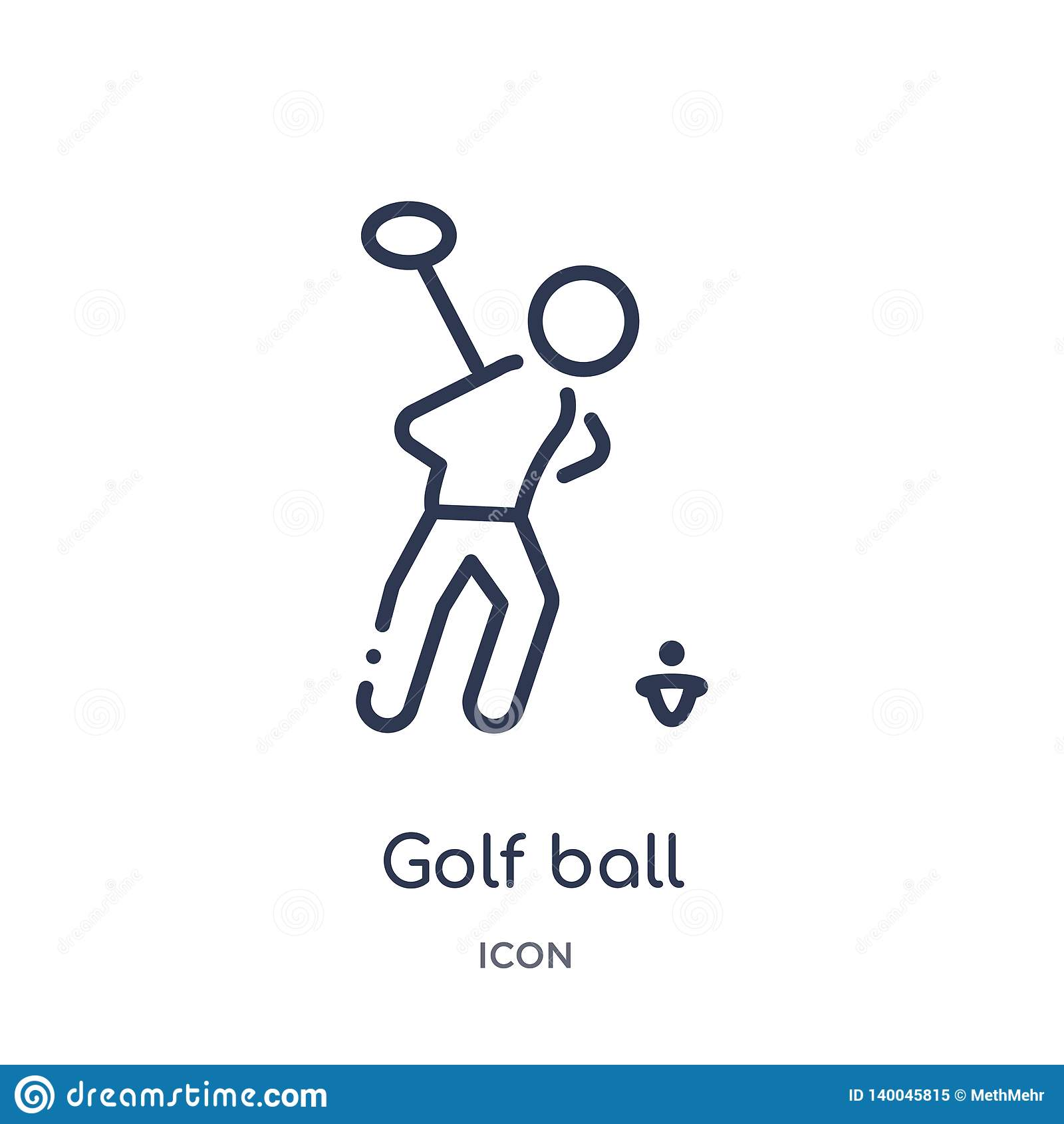 Linear golf ball icon from Activity and hobbies outline collection. Thin line golf ball vector isolated on white background. golf