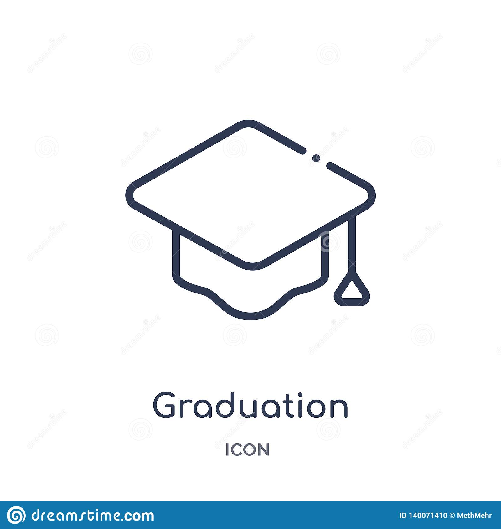 Linear graduation mortarboard icon from Education outline collection. Thin line graduation mortarboard icon isolated on white