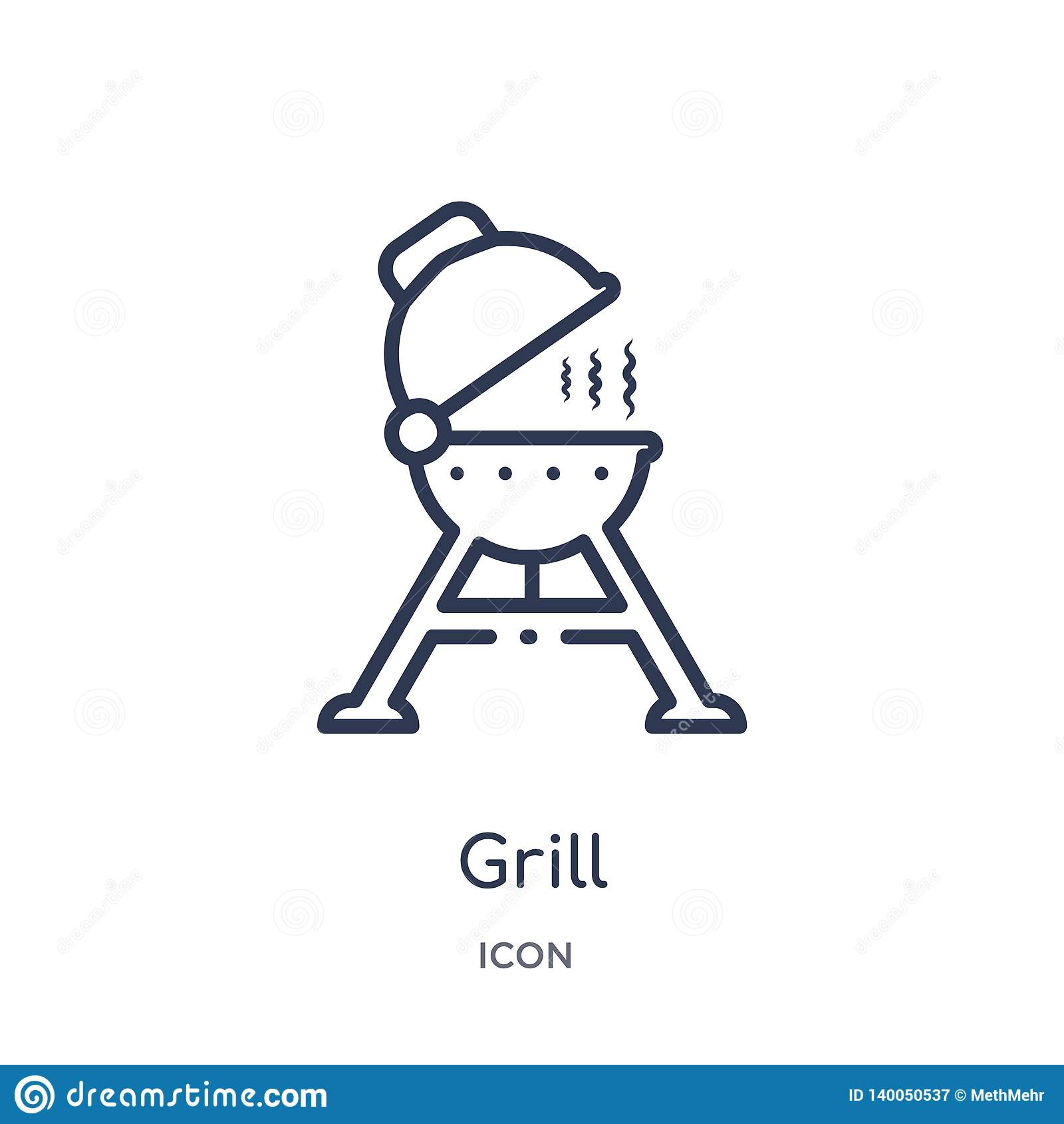 Linear grill icon from Camping outline collection. Thin line grill vector isolated on white background. grill trendy illustration