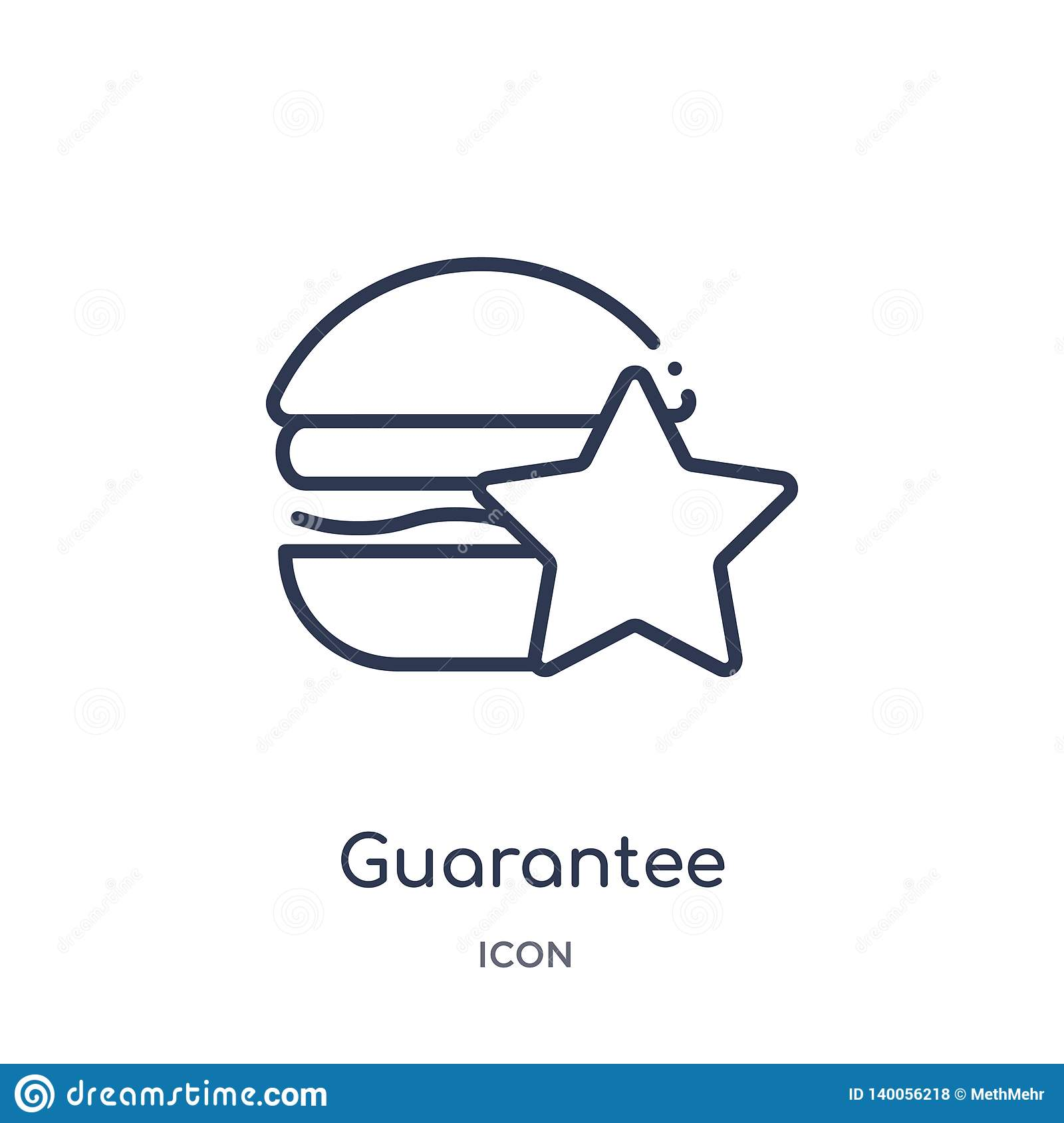 Linear guarantee icon from Fastfood outline collection. Thin line guarantee vector isolated on white background. guarantee trendy