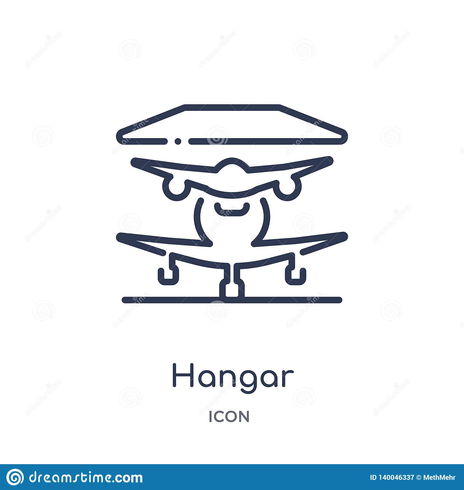 Linear hangar icon from Airport terminal outline collection. Thin line hangar vector isolated on white background. hangar trendy