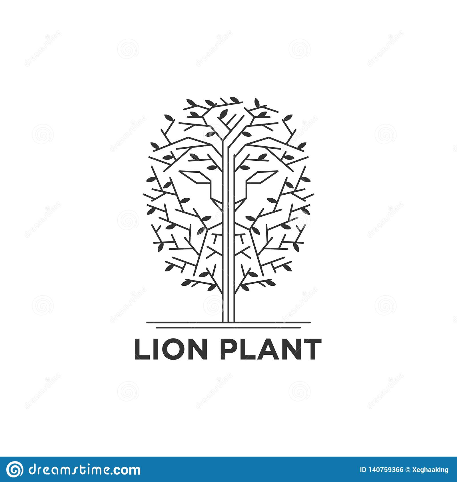 Lion face in the trees logo