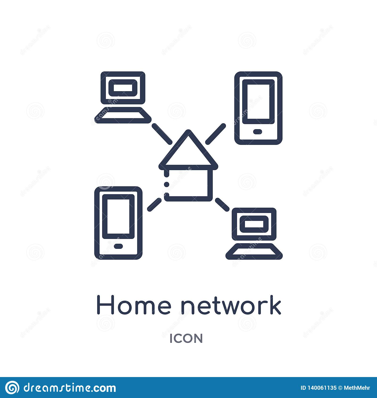 Linear home network icon from Internet security and networking outline collection. Thin line home network icon isolated on white